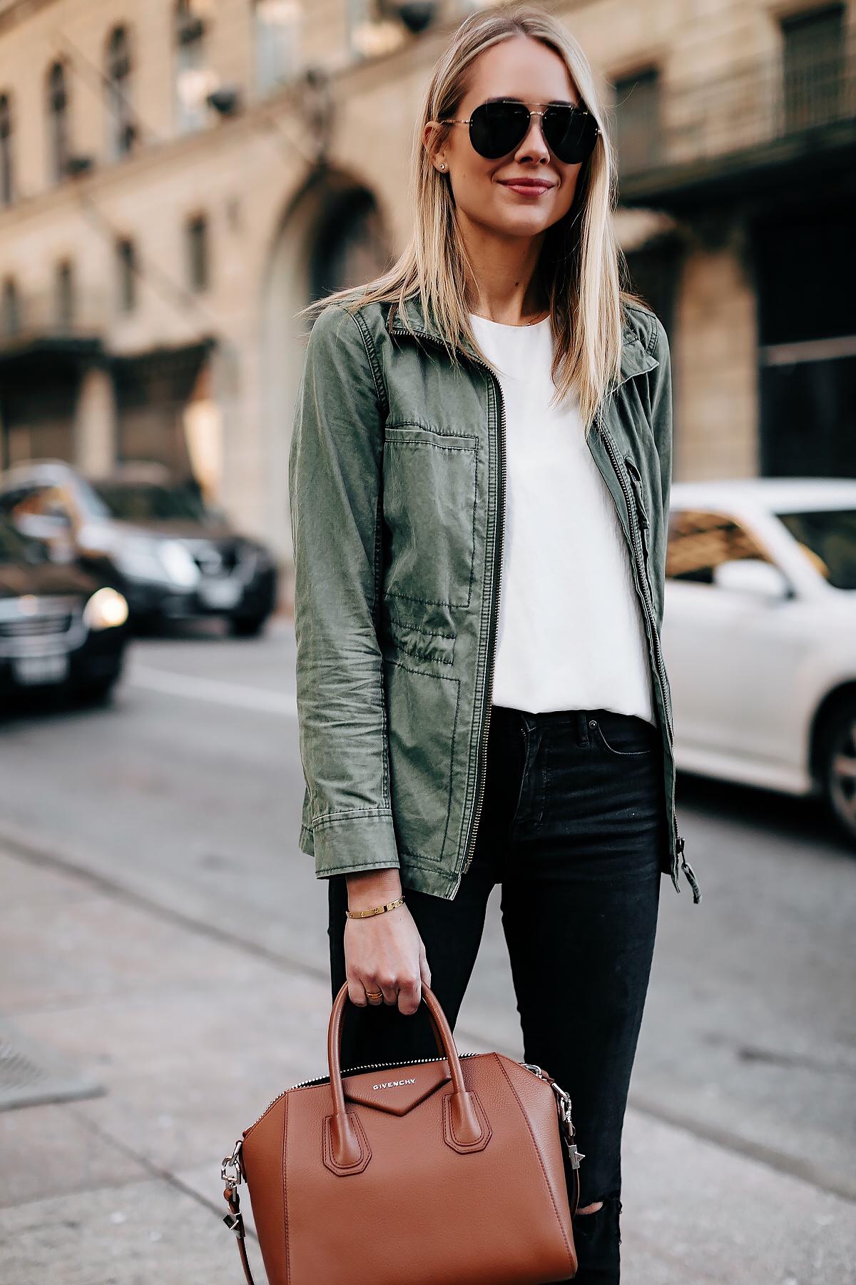 Blonde Woman Wearing Madewell Utility Green Jacket White Top Black Jeans Givenchy Antigona Cognac Handbag Fashion Jackson San Diego Fashion Blogger Street Style