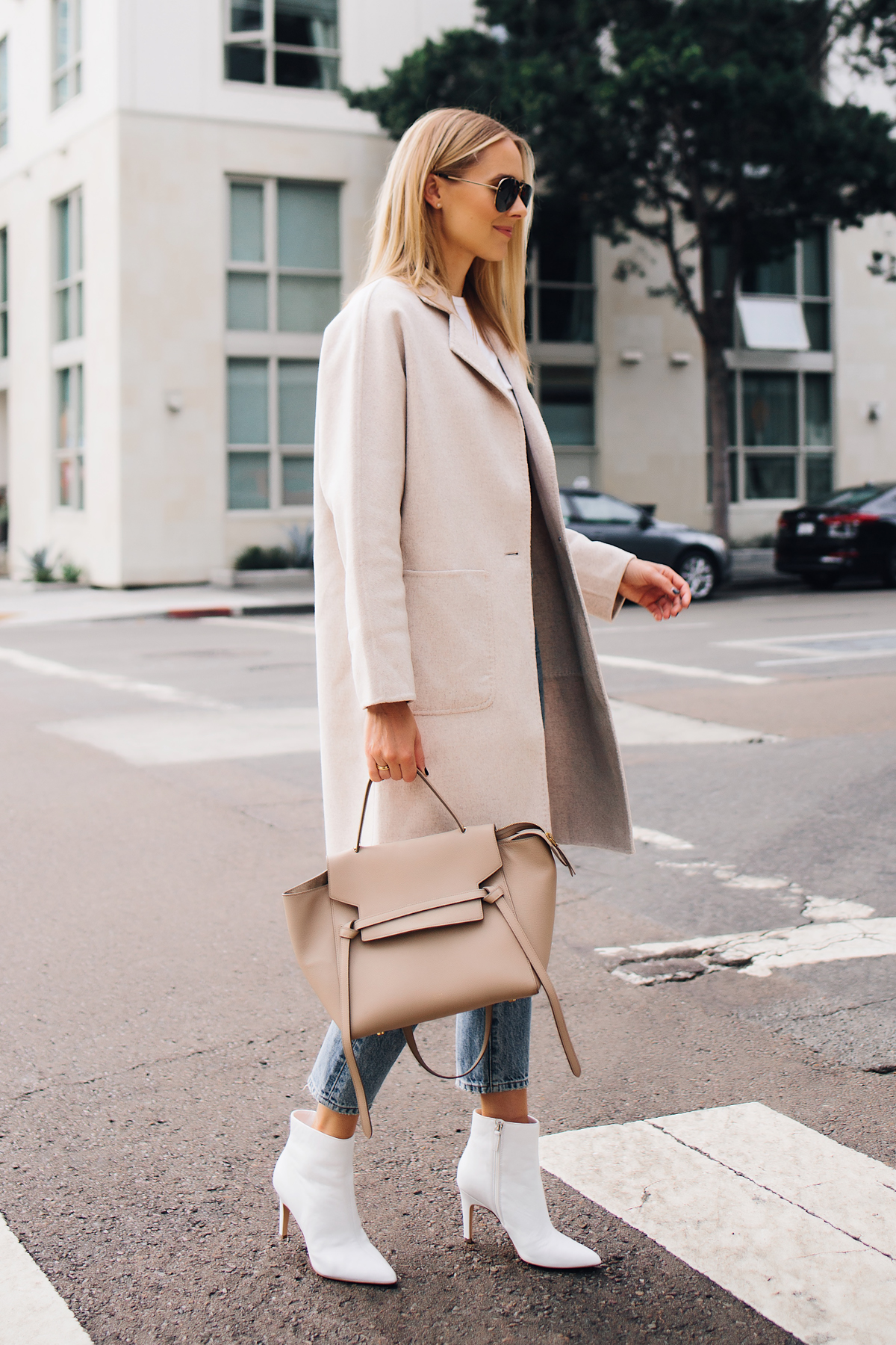 Blonde Woman Wearing Rails Beige Wool Coat Ankle Jeans White Heeled Booties Outfit Celine Mini Belt Bag Taupe Fashion Jackson San Diego Fashion Blogger Street Style