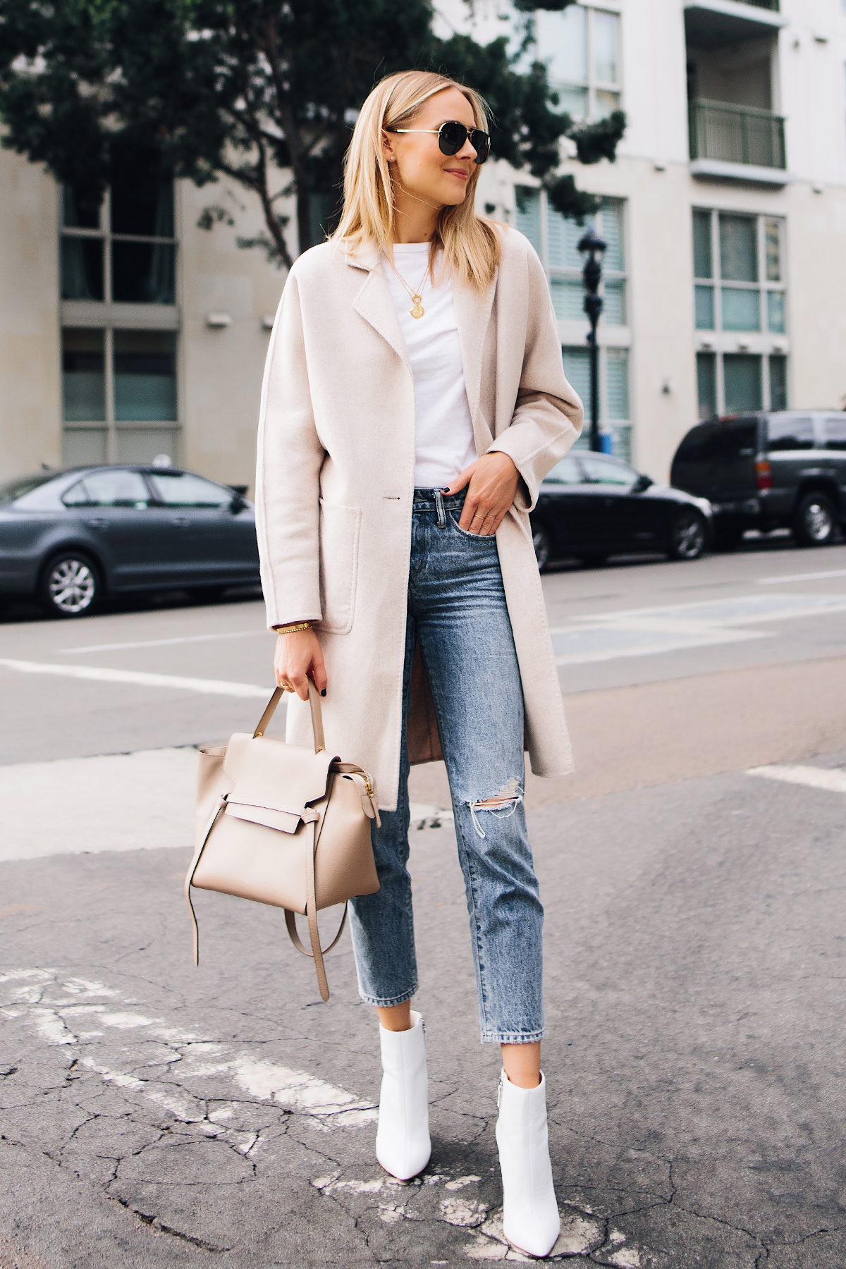 Blonde Woman Wearing Rails Beige Wool Coat White Tshirt Ripped Ankle Jeans White Ankle Booties Outfit Celine Mini Belt Bag Taupe Fashion Jackson San Diego Fashion Blogger Street Style