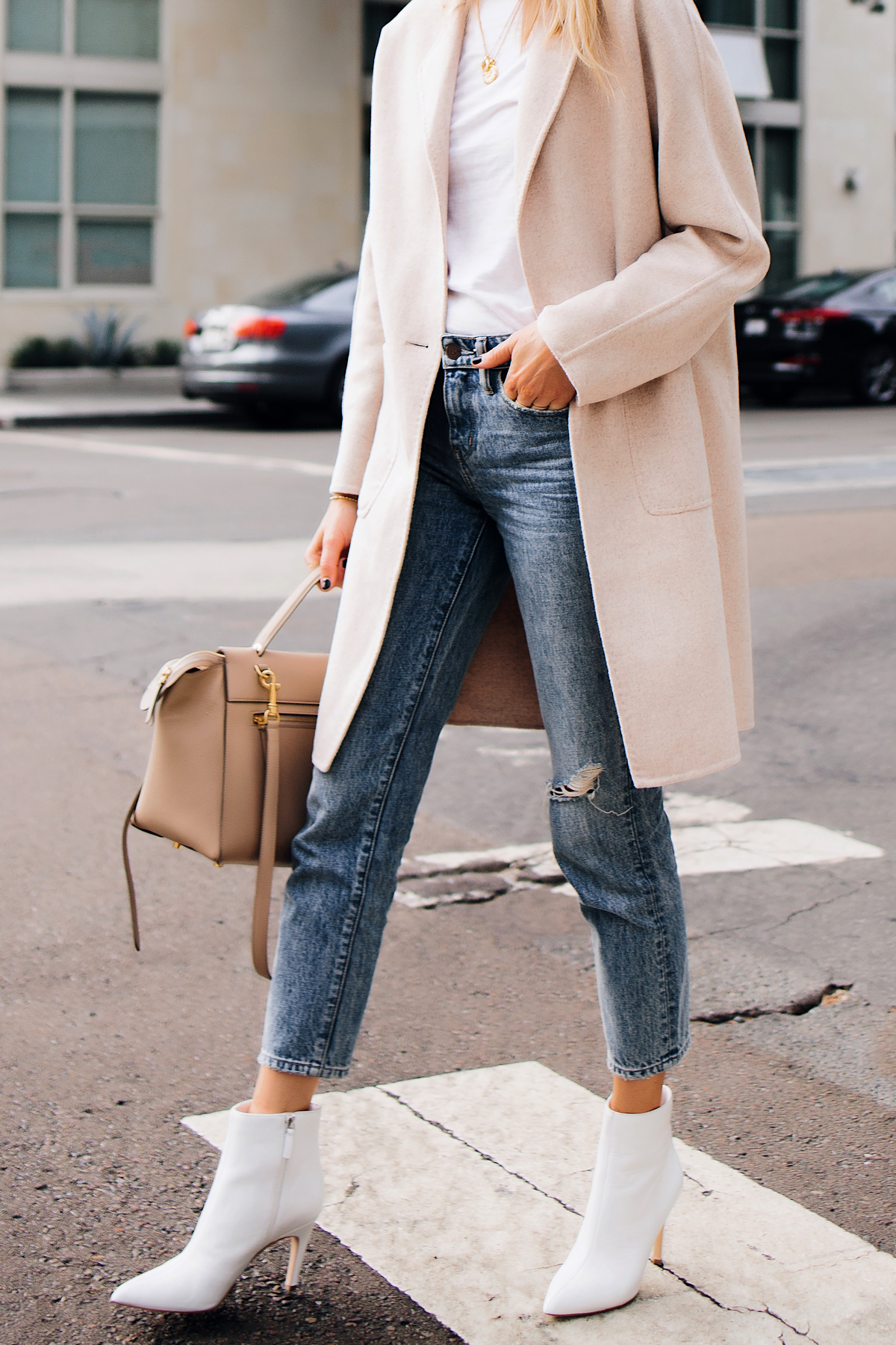 Woman WearingRails Beige Wool Coat White Tshirt Ripped Ankle Jeans White Ankle Booties Outfit Fashion Jackson San Diego Fashion Blogger Street Style