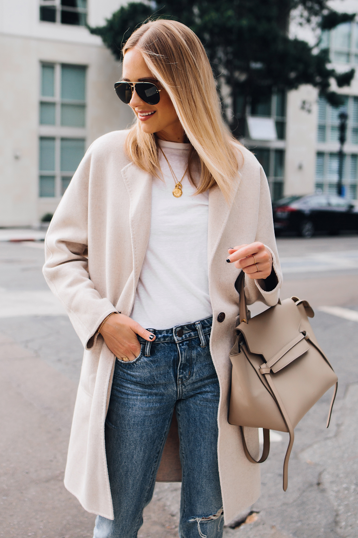 Blonde Woman Wearing Rails Beige Wool Coat White Tshirt Ripped Jeans Outfit Celine Mini Belt Bag Taupe Fashion Jackson San Diego Fashion Blogger Street Style
