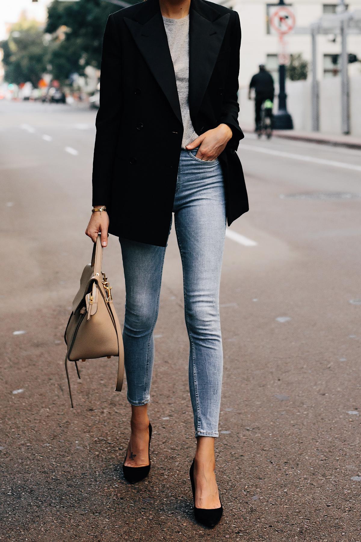 Woman Wearing Ralph Lauren Polo Black Blazer Grey Tshirt Denim Skinny Jeans Black Heels Outfit Fashion Jackson San Diego Fashion Blogger Street Style