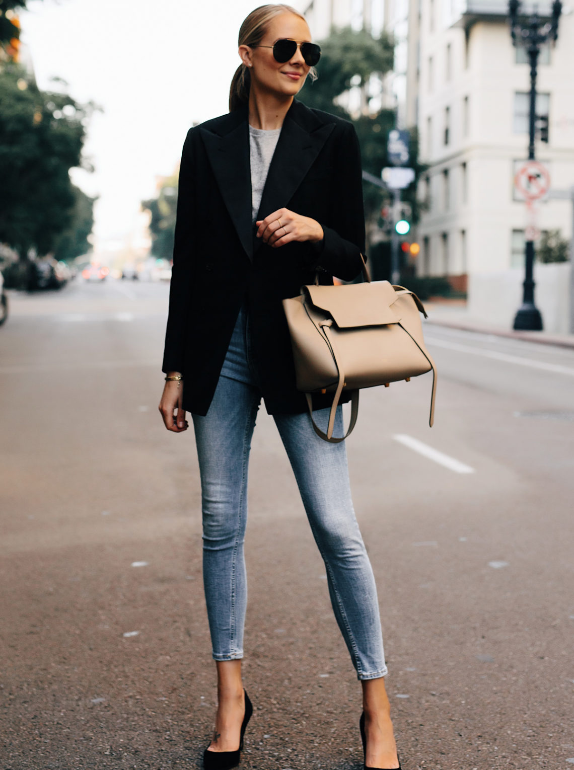 Blonde Woman Wearing Ralph Lauren Polo Black Blazer Grey Tshirt Denim Skinny Jeans Black Heels Outfit Celine Mini Belt Bag Fashion Jackson San Diego Fashion Blogger Street Style