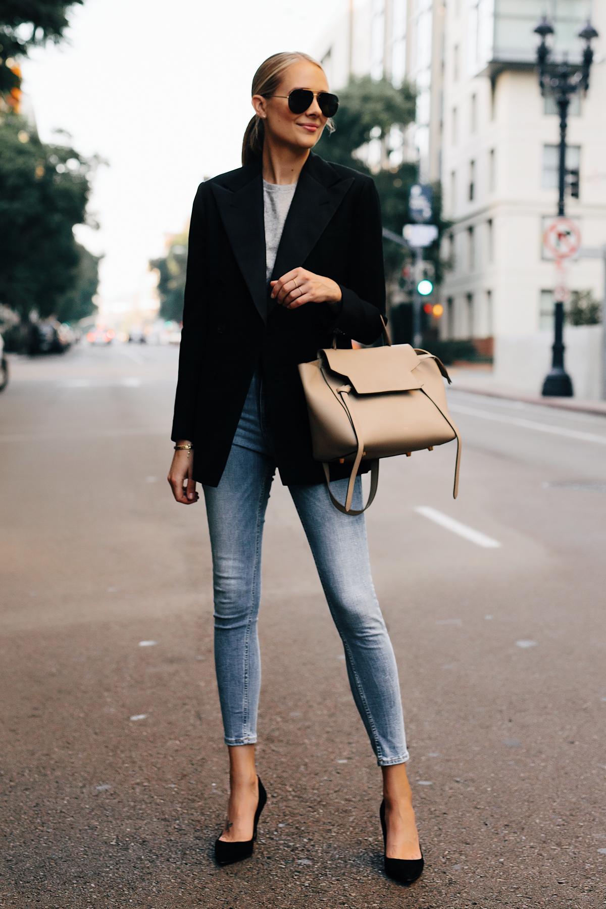 Blonde Woman Wearing Ralph Lauren Polo Black Blazer Grey Tshirt Denim Skinny Jeans Black Heels Outfit Celine Mini Belt Bag Fashion Jackson San Diego Fashion Blogger Street Style