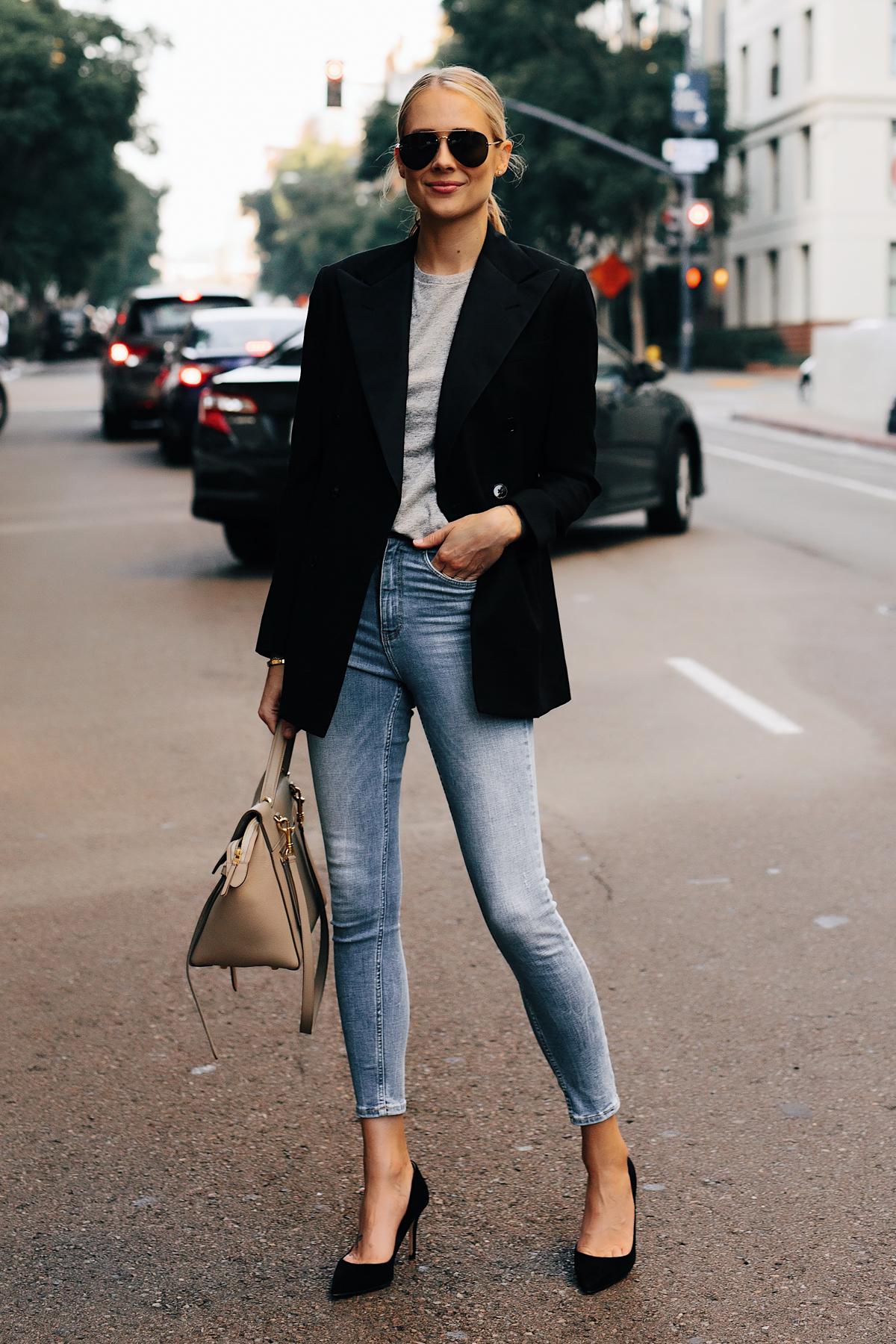 Blonde Woman Wearing Ralph Lauren Polo Black Blazer Grey Tshirt Denim Skinny Jeans Black Heels Outfit Fashion Jackson San Diego Fashion Blogger Street Style