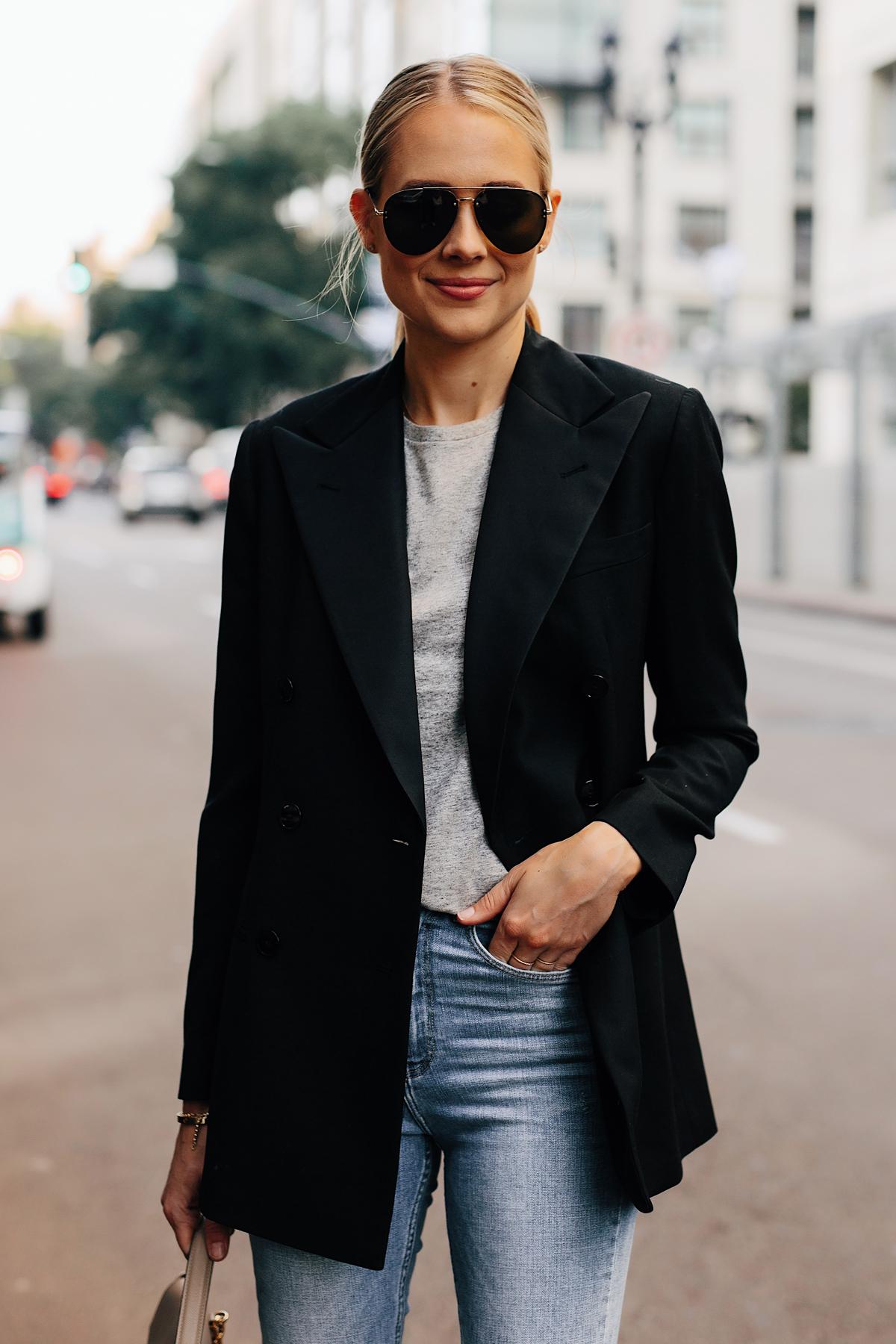 Blonde Woman Wearing Ralph Lauren Polo Black Blazer Grey Tshirt Jeans Outfit Fashion Jackson San Diego Fashion Blogger Street Style