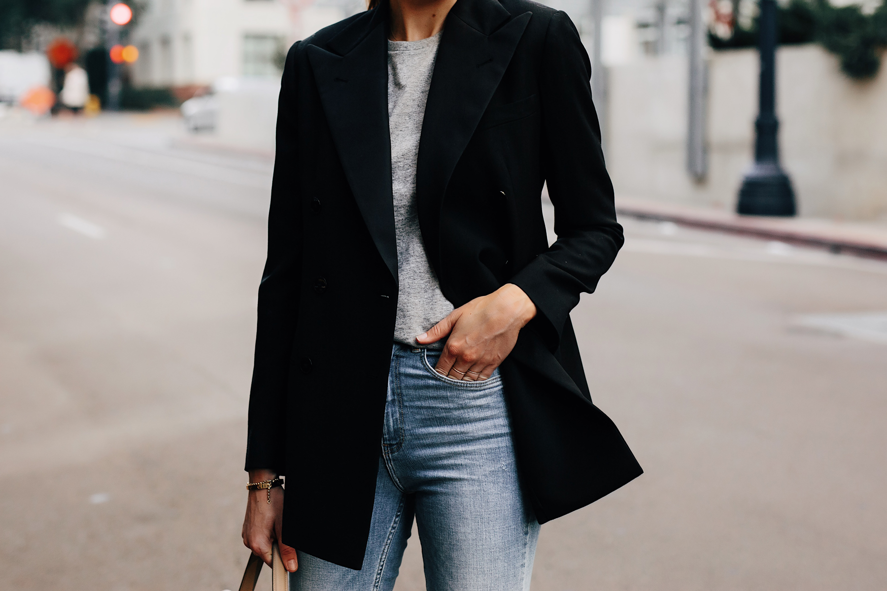 Woman Wearing Ralph Lauren Polo Black Blazer Grey Tshirt Jeans Outfit Fashion Jackson San Diego Fashion Blogger Street Style