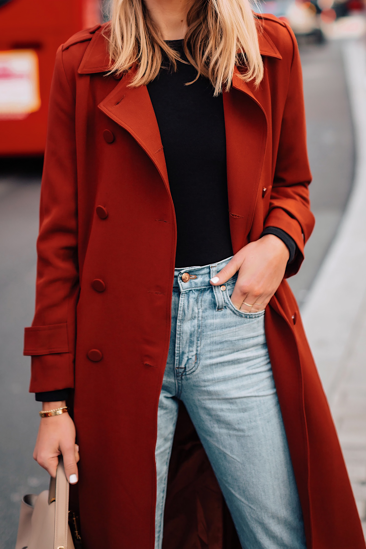 Woman Wearing Red Trench Coat Black Top Jeans Outfit Fashion Jackson San Diego Fashion Blogger London Street Style
