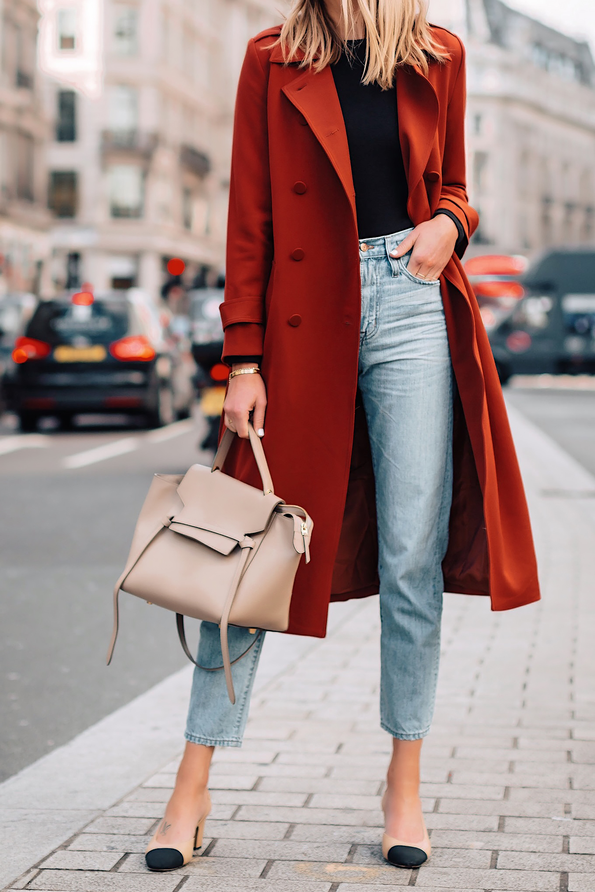 Woman Wearing Red Trench Coat Black Top Relaxed Jeans Outfit Chanel Slingbacks Celine Mini Belt Bag Fashion Jackson San Diego Fashion Blogger London Street Style