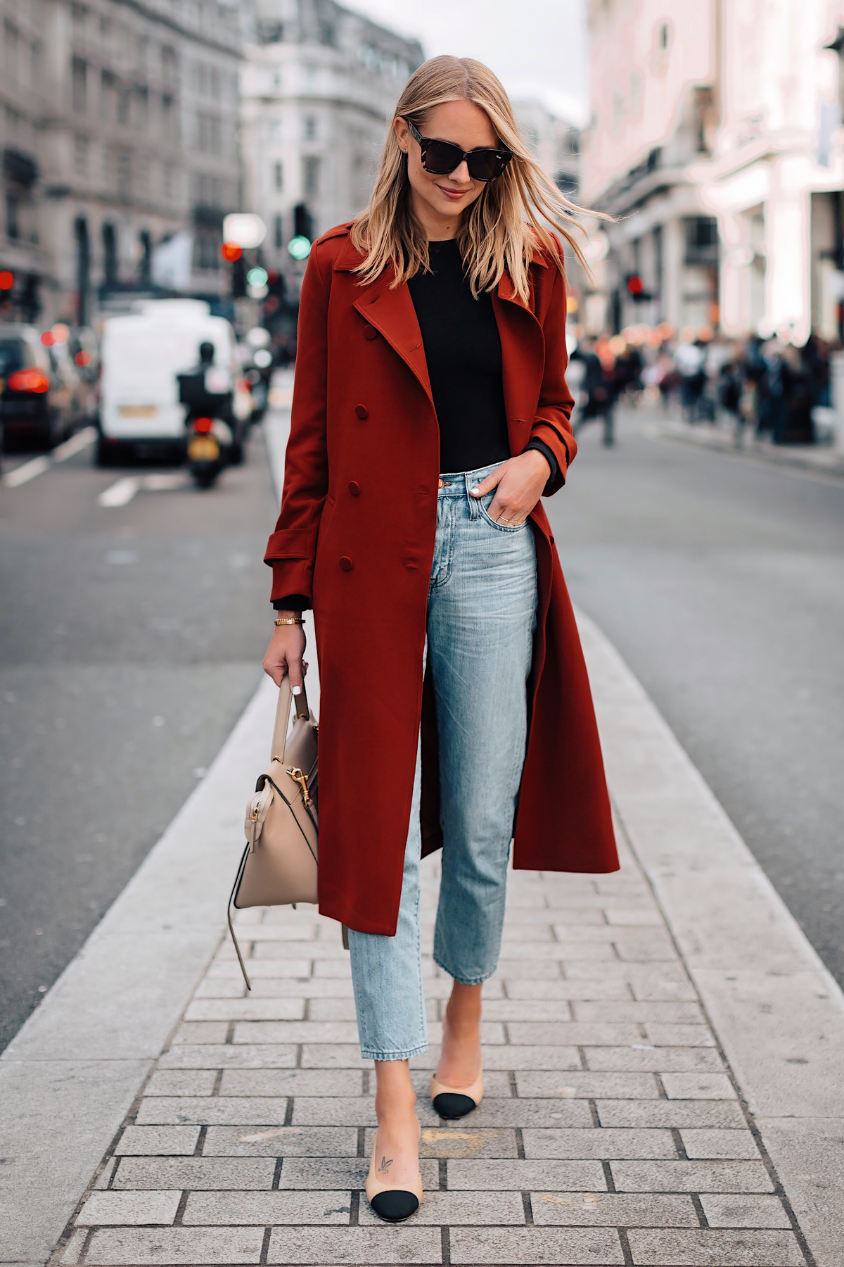 Blonde Woman Wearing Red Trench Coat Black Top Relaxed Jeans Outfit Chanel Slingbacks Fashion Jackson San Diego Fashion Blogger London Street Style