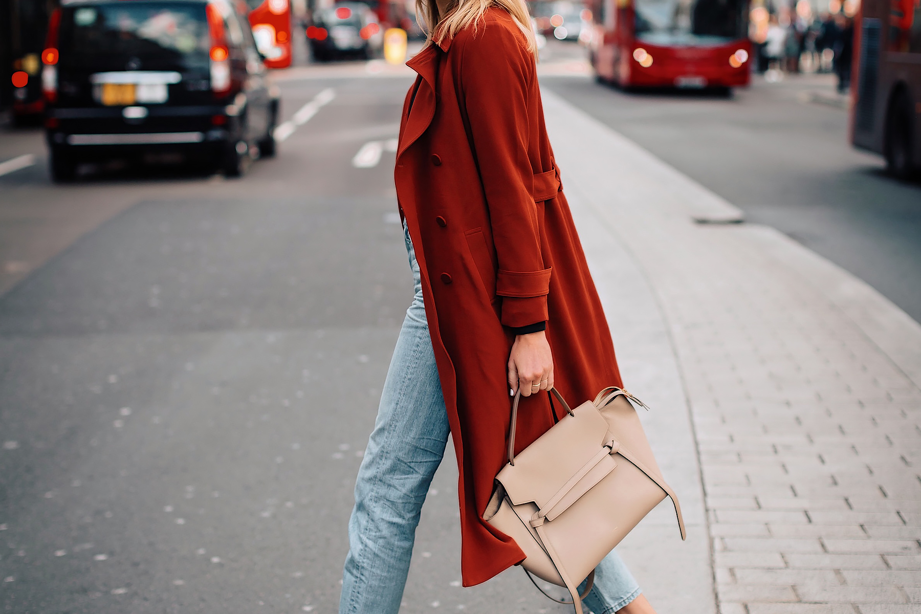 Woman Wearing Red Trench Coat Celine Mini Belt Bat Taupe Fashion Jackson San Diego Fashion Blogger London Street Style