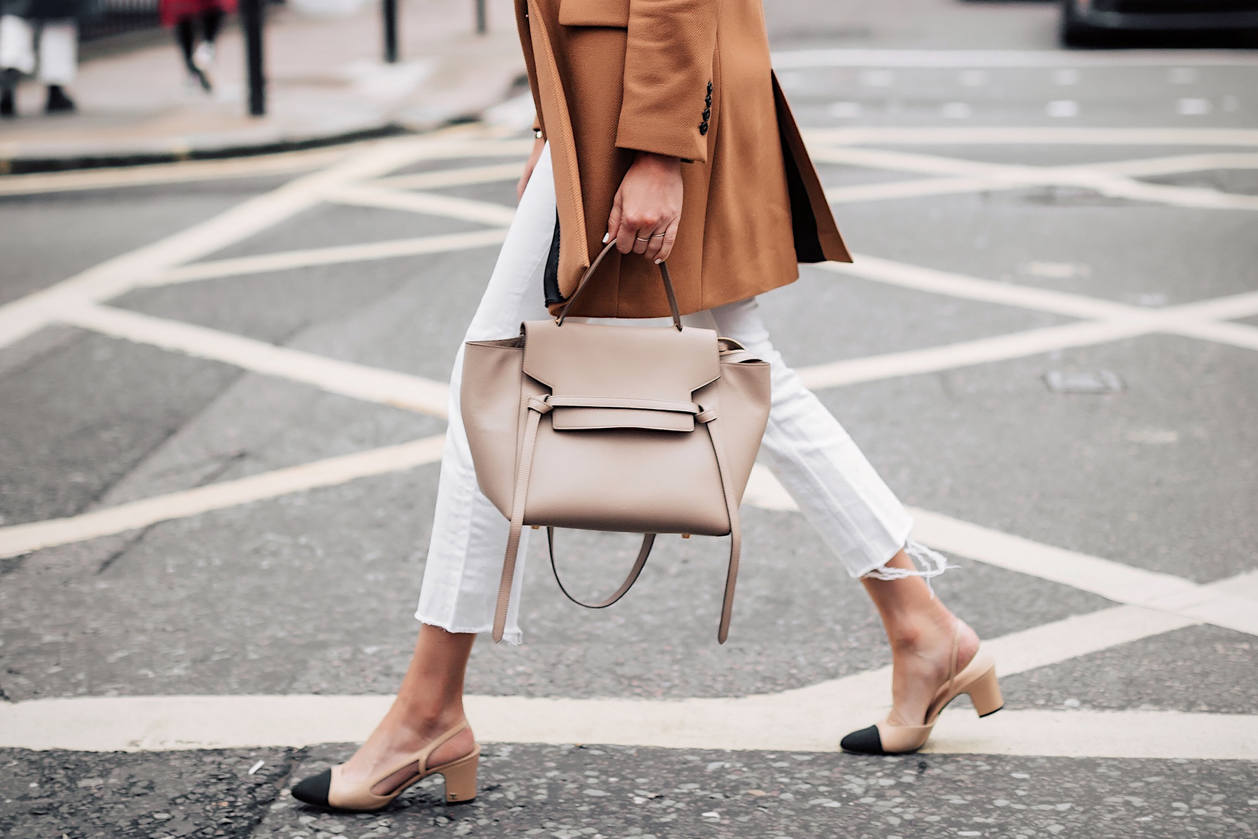 Woman Wearing Taupe Celine Mini Belt Bag White Cropped Jeans Chanel Slingbacks Camel Coat Fashion Jackson San Diego Fashion Blogger London Street Style