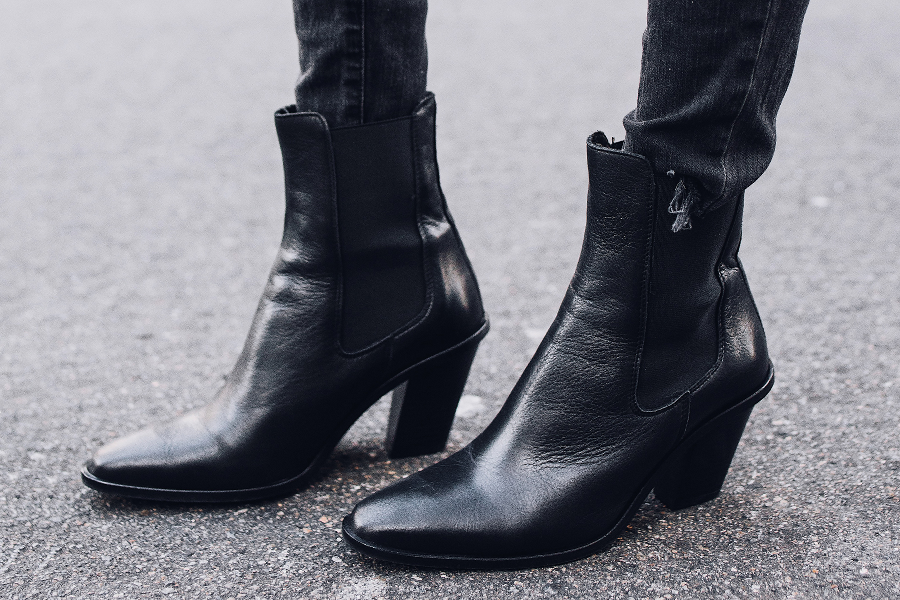Topshop Black Leather Booties