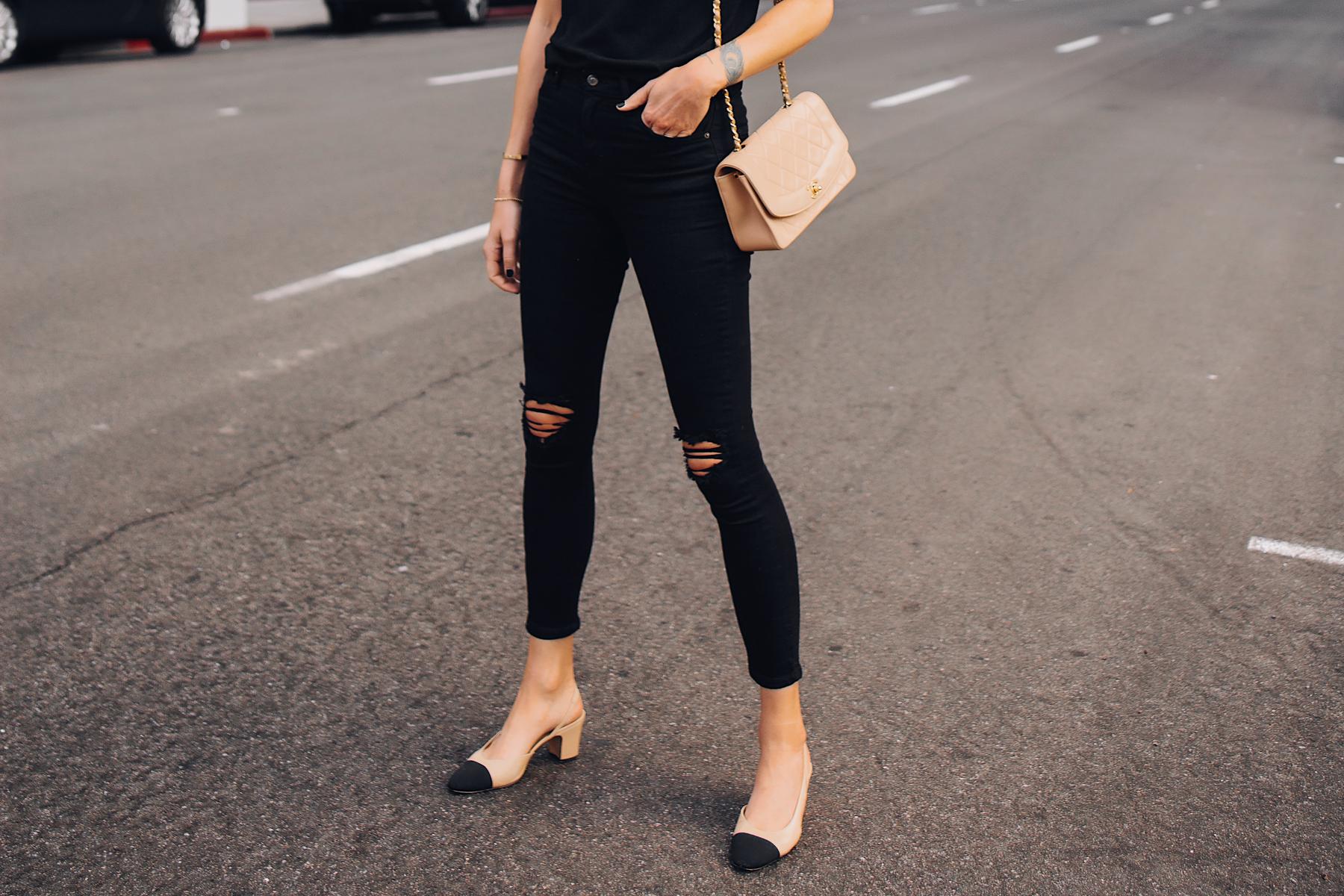 Blonde Woman Wearing Topshop Black Ripped Skinny Jeans Chanel Diana Handbag Tan Chanel Slingback Shoes Fashion Jackson San Diego Fashion Blogger Street Style
