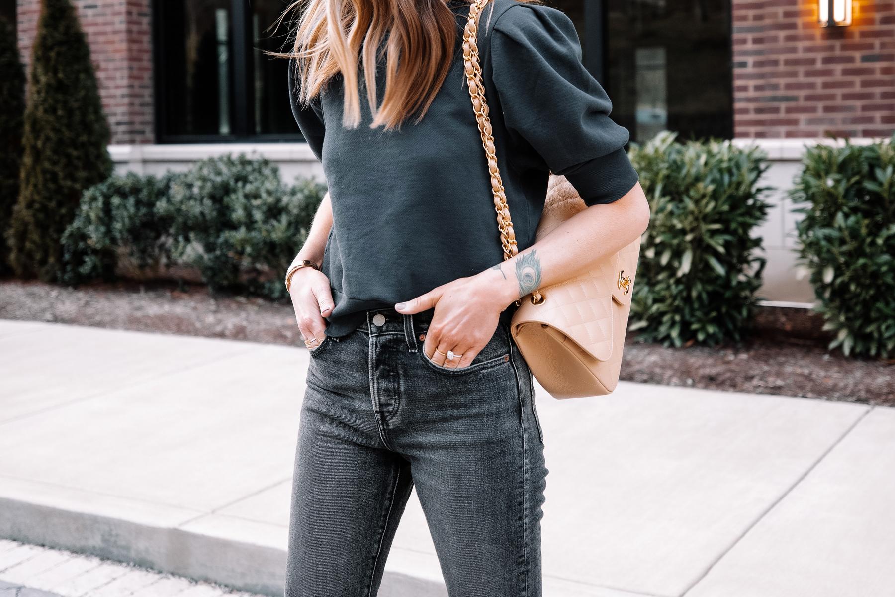 Fashion Jackson Wearing Frame Navy Puff Sleeve Sweatshirt Black Jeans 1