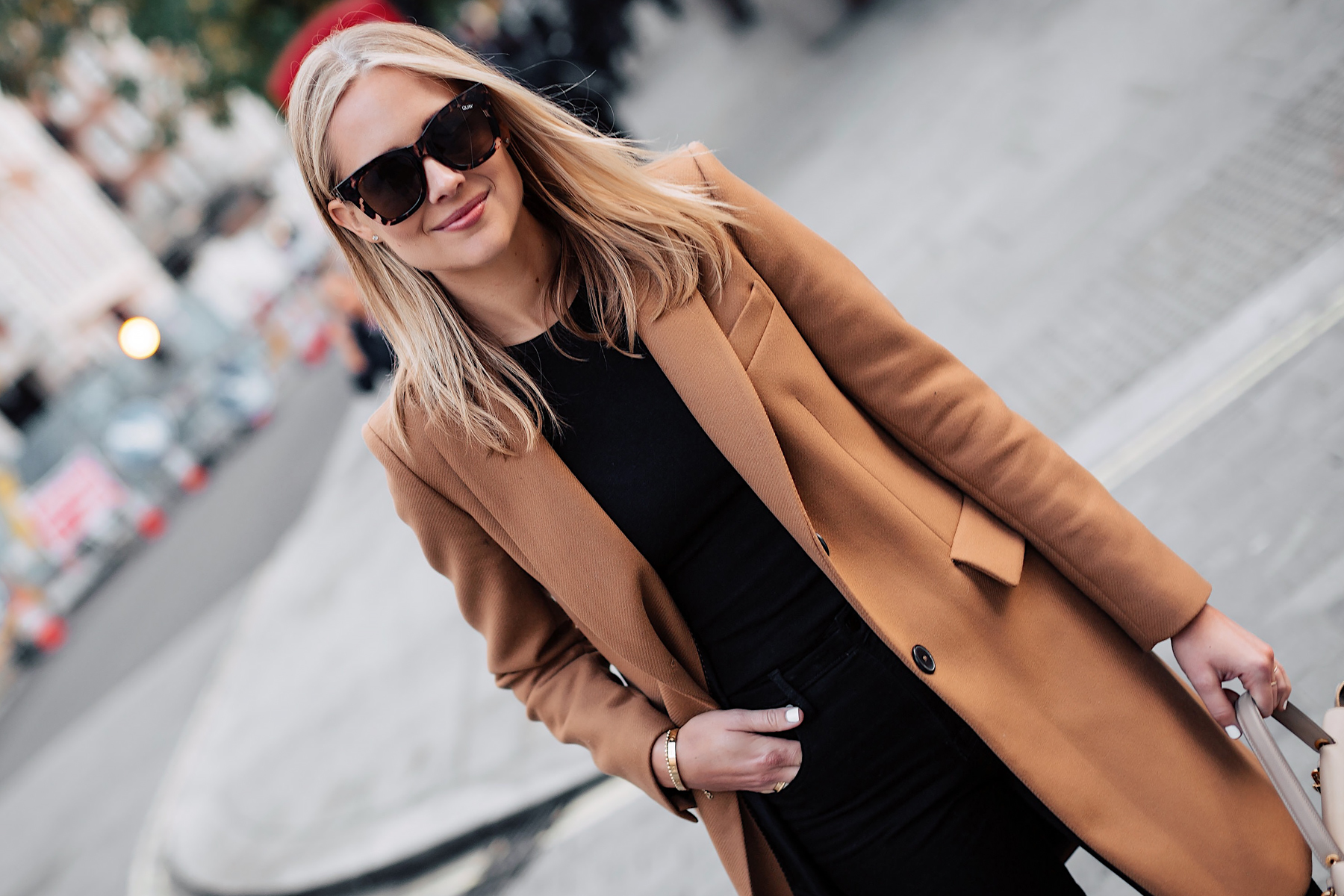 Blonde Woman Wearing Zara Camel Coat Black Sweater Black Skinny Jeans Outfit Fashion Jackson San Diego Fashion Blogger London Street Style