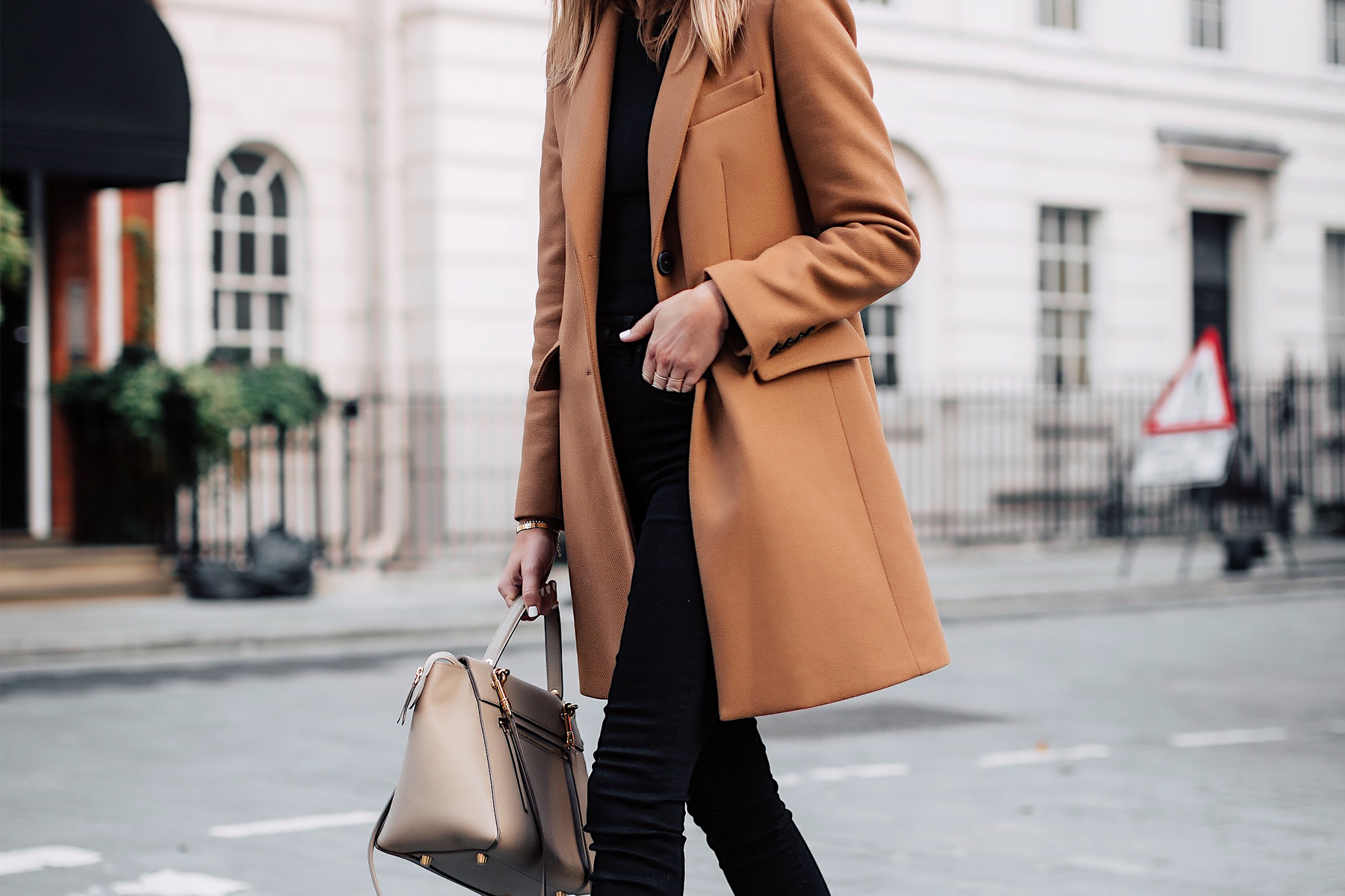 Woman WearingZara Camel Coat Black Sweater Black Skinny Jeans Outfit Celine Belt Bag Fashion Jackson San Diego Fashion Blogger London Street Style