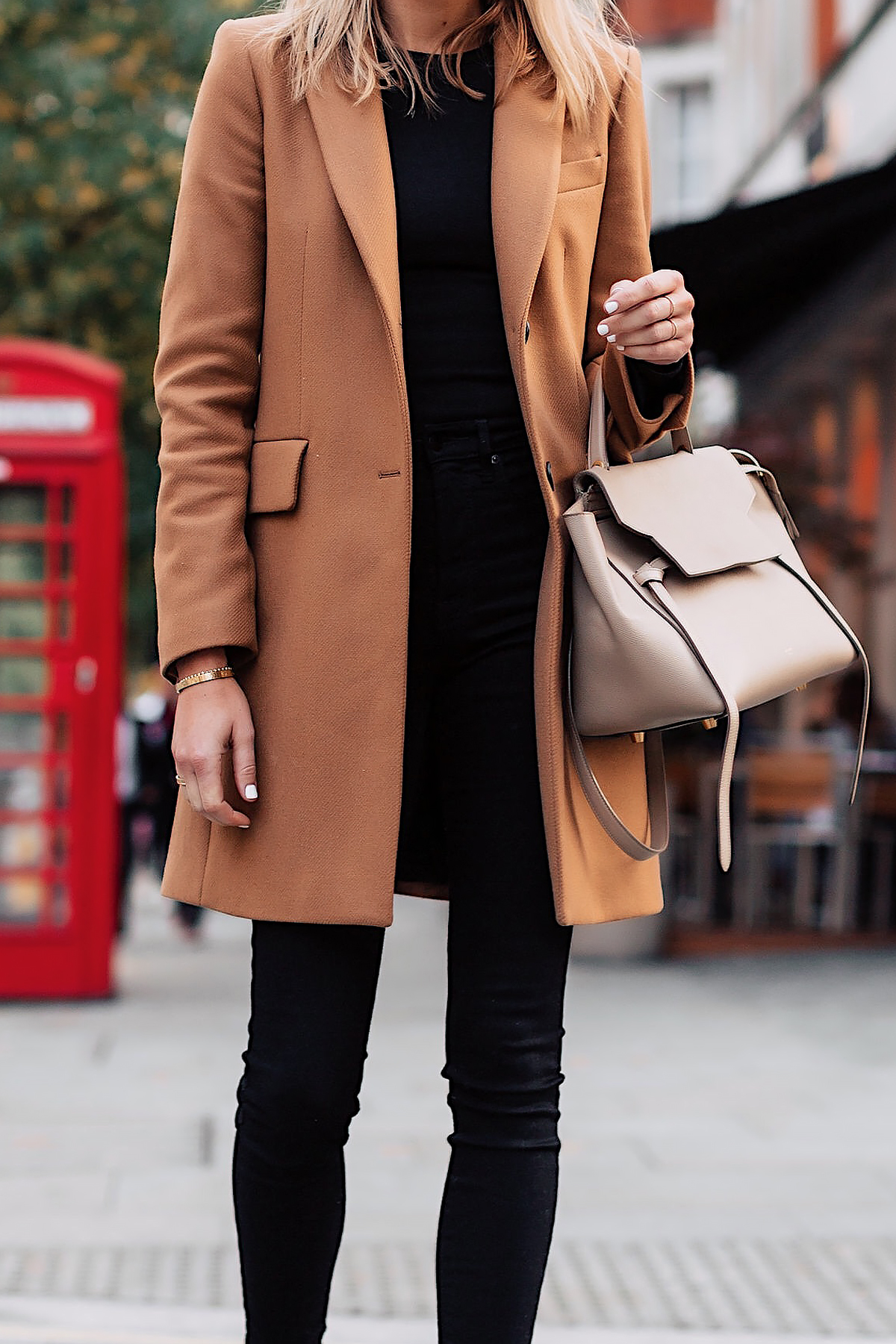 Woman Wearing Zara Camel Coat Black Sweater Black Skinny Jeans Outfit Celine Belt Bag Fashion Jackson San Diego Fashion Blogger London Street Style