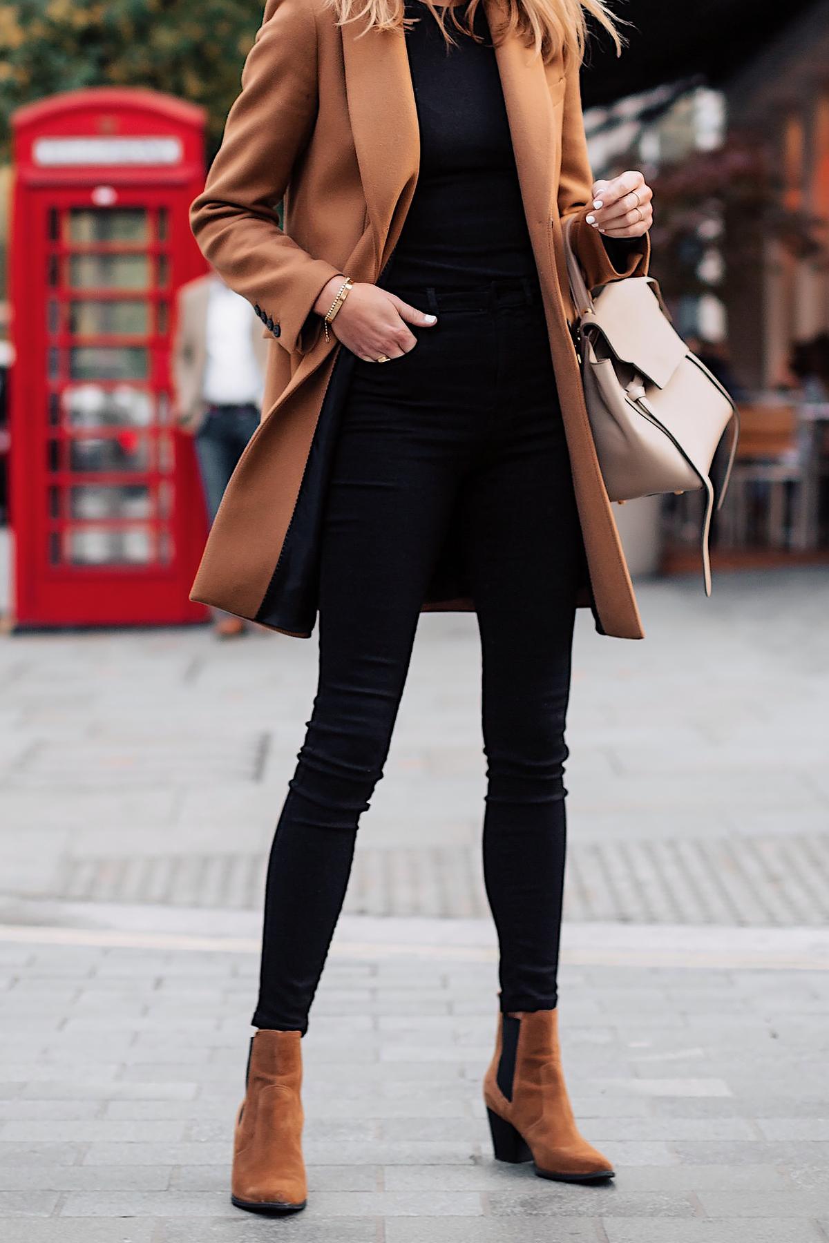 Woman Wearing Zara Camel Coat Black Sweater Black Skinny Jeans Tan Booties Outfit Celine Belt Bag Fashion Jackson San Diego Fashion Blogger London Street Style