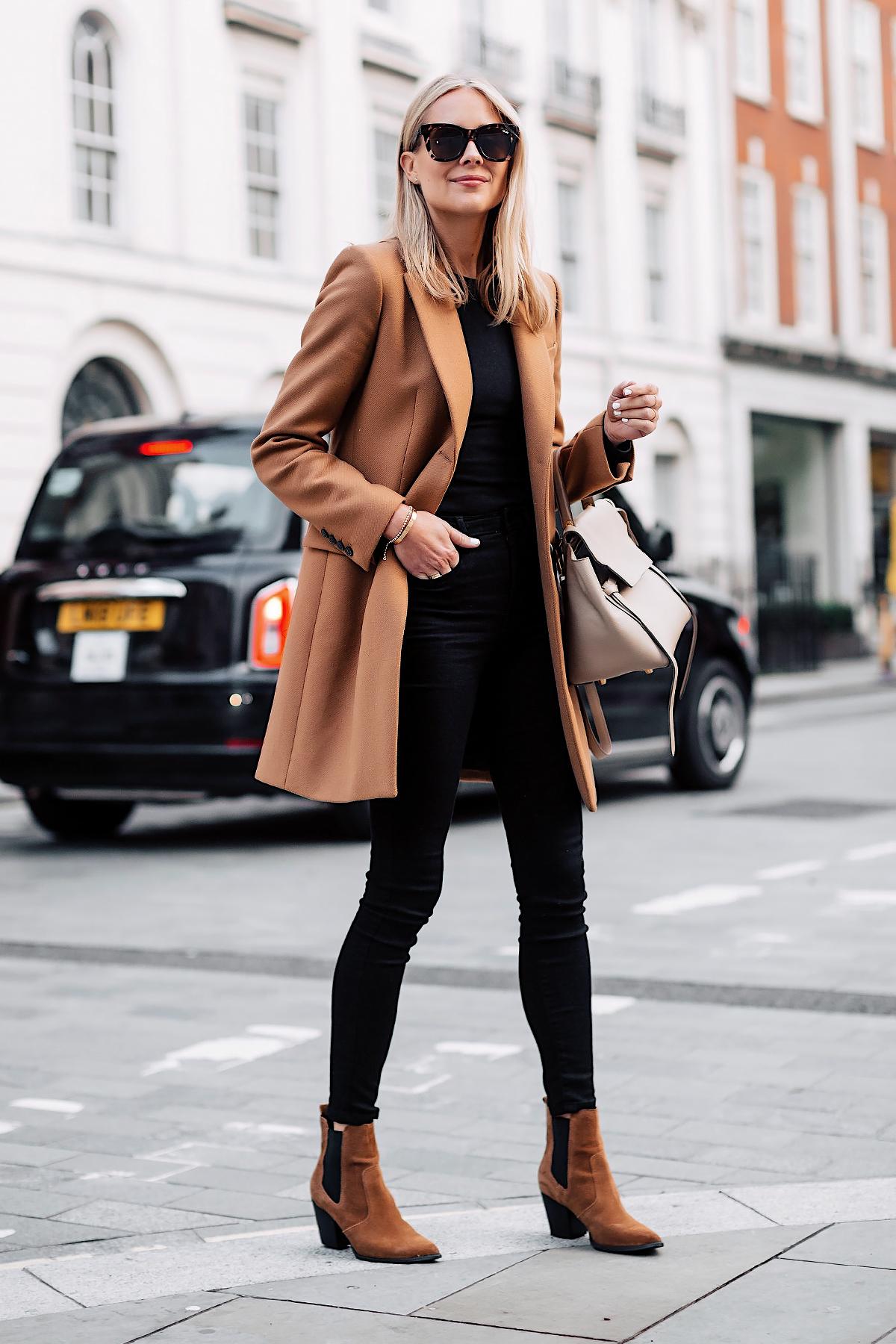 5719ace763b Woman Wearing Zara Camel Coat Black Sweater Black Skinny Jeans Outfit ...