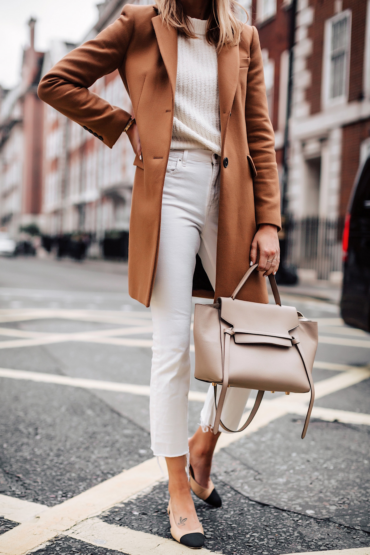 Woman Wearing Zara Camel Coat White Sweater White Cropped Jeans Celine Mini Belt Bag Taupe Fashion Jackson San Diego Fashion Blogger London Street Style