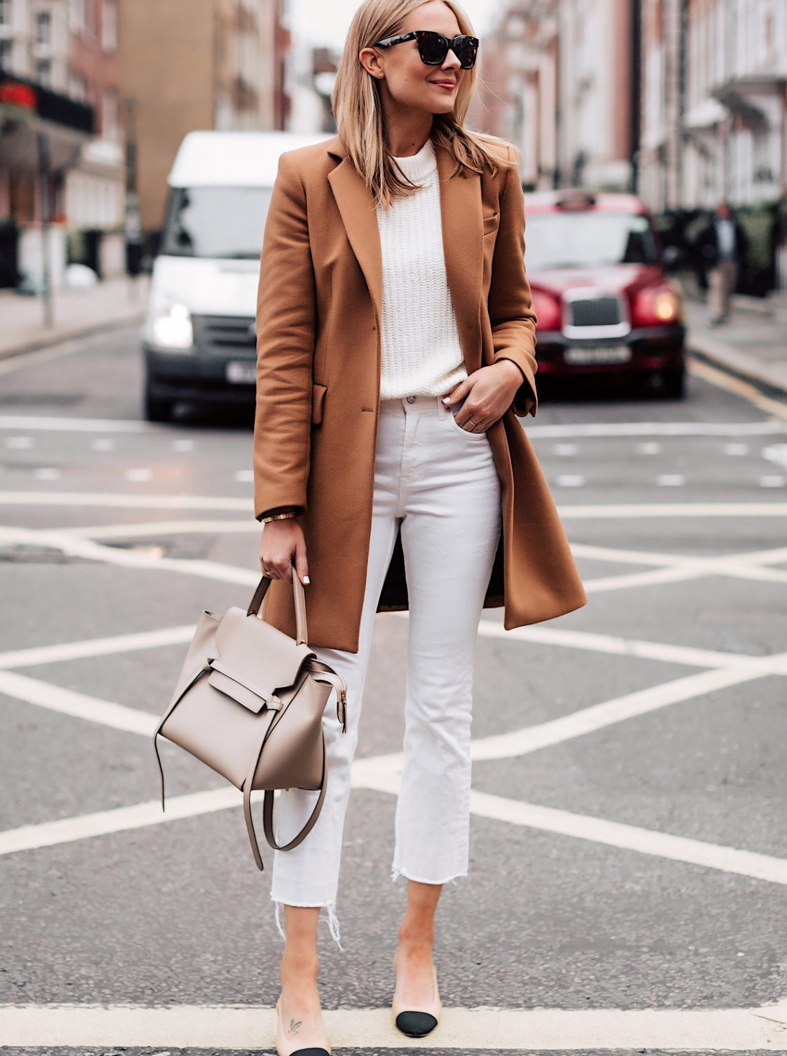 Blonde Woman Wearing Zara Camel Coat White Sweater White Cropped Jeans Chanel Slingback Shoes Celine Mini Belt Bag Taupe Fashion Jackson San Diego Fashion Blogger London Street Style