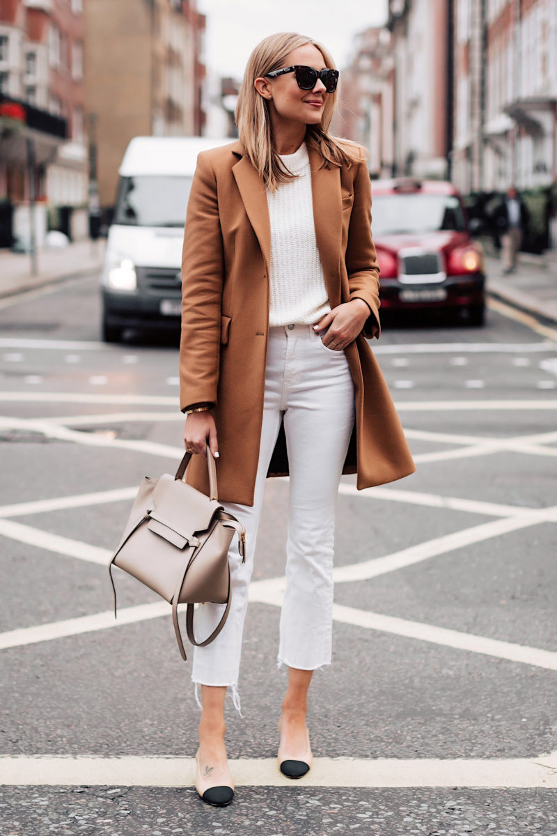 b67a1b92 Blonde Woman Wearing Zara Camel Coat White Sweater White Cropped Jeans  Chanel Slingback Shoes Celine Mini
