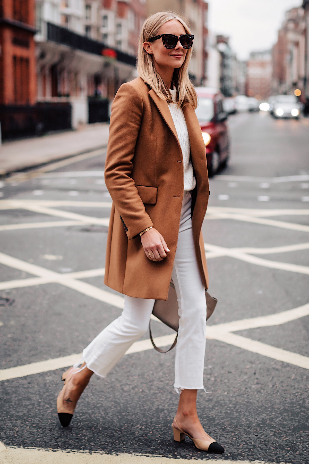 Blonde Woman Wearing Zara Camel Coat White Sweater White Cropped Jeans Chanel Slingback Shoes Fashion Jackson San Diego Fashion Blogger London Street Style
