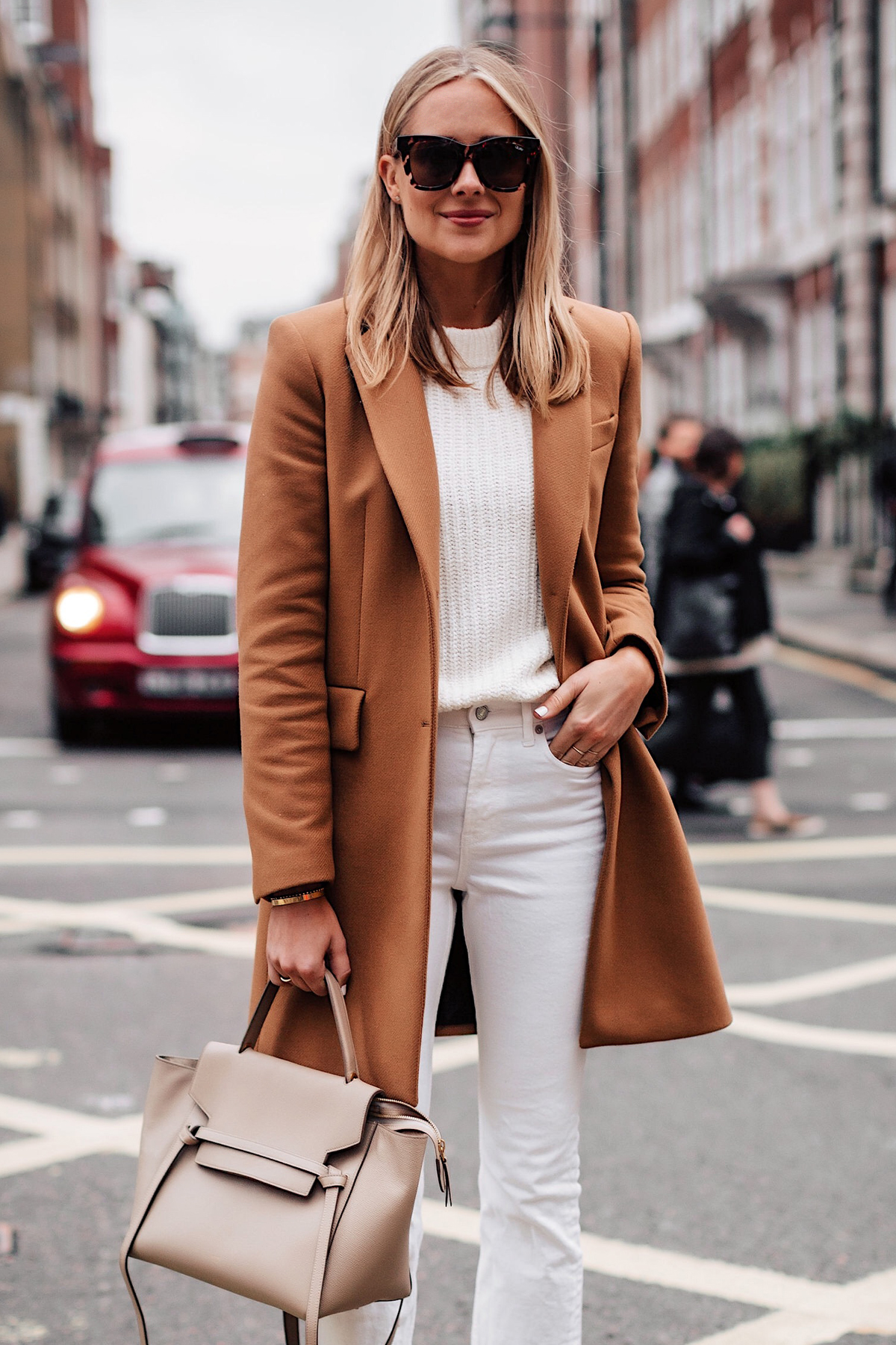 Blonde Woman Wearing Zara Camel Coat White Sweater White Jeans Celine Mini Belt Bag Taupe Fashion Jackson San Diego Fashion Blogger London Street Style