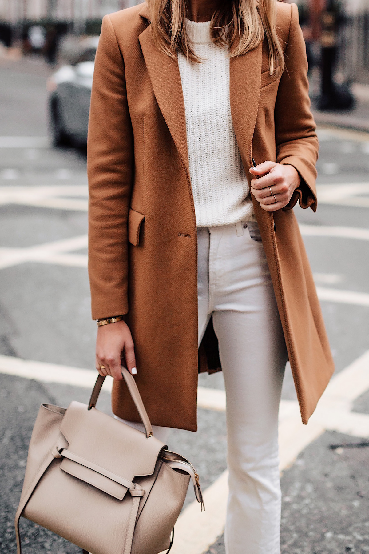 Woman Wearing Zara Camel Coat White Sweater White Jeans Celine Mini Belt Bag Fashion Jackson San Diego Fashion Blogger London Street Style