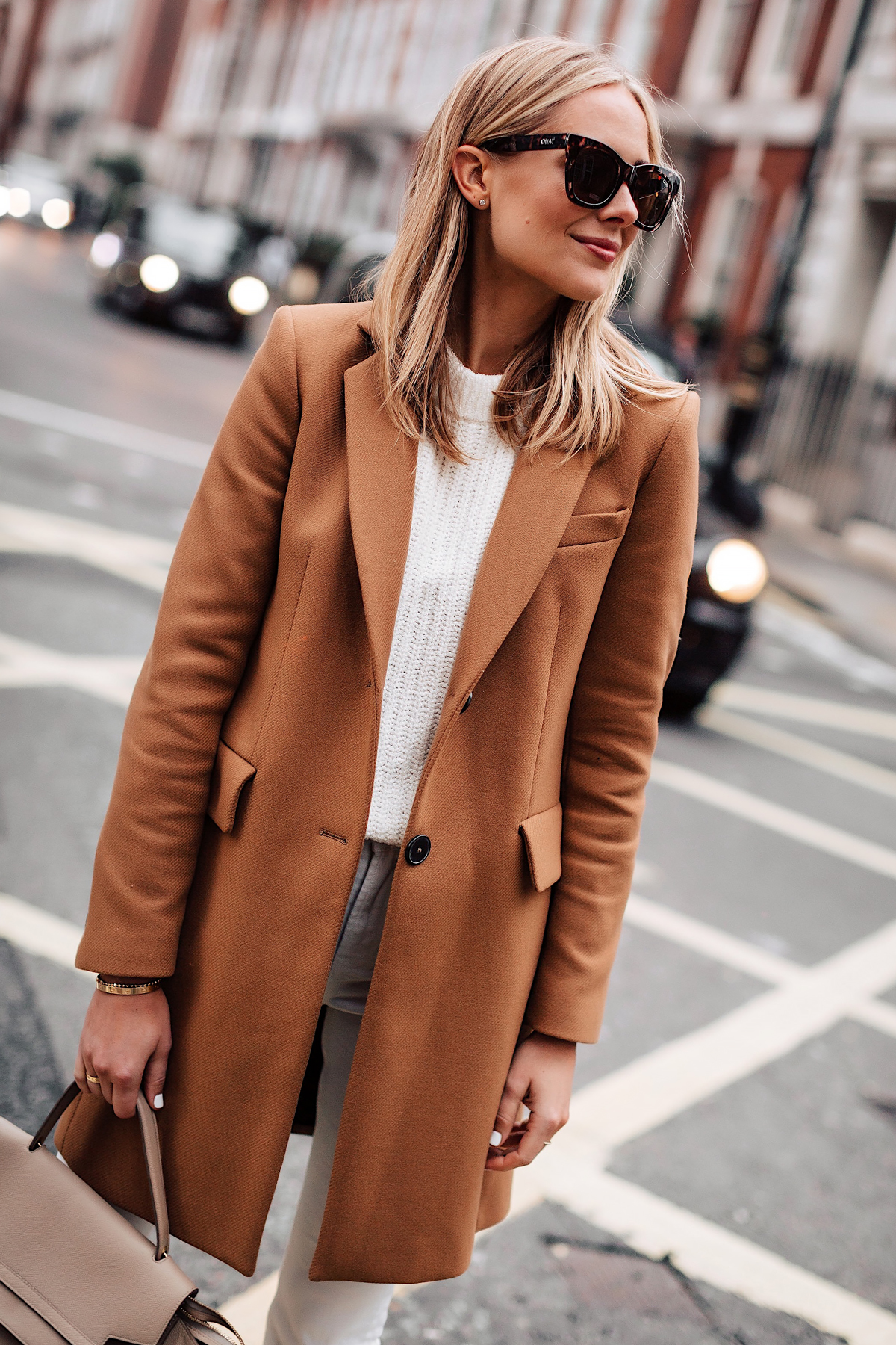 Blonde Woman Wearing Zara Camel Coat White Sweater Fashion Jackson San Diego Fashion Blogger London Street Style