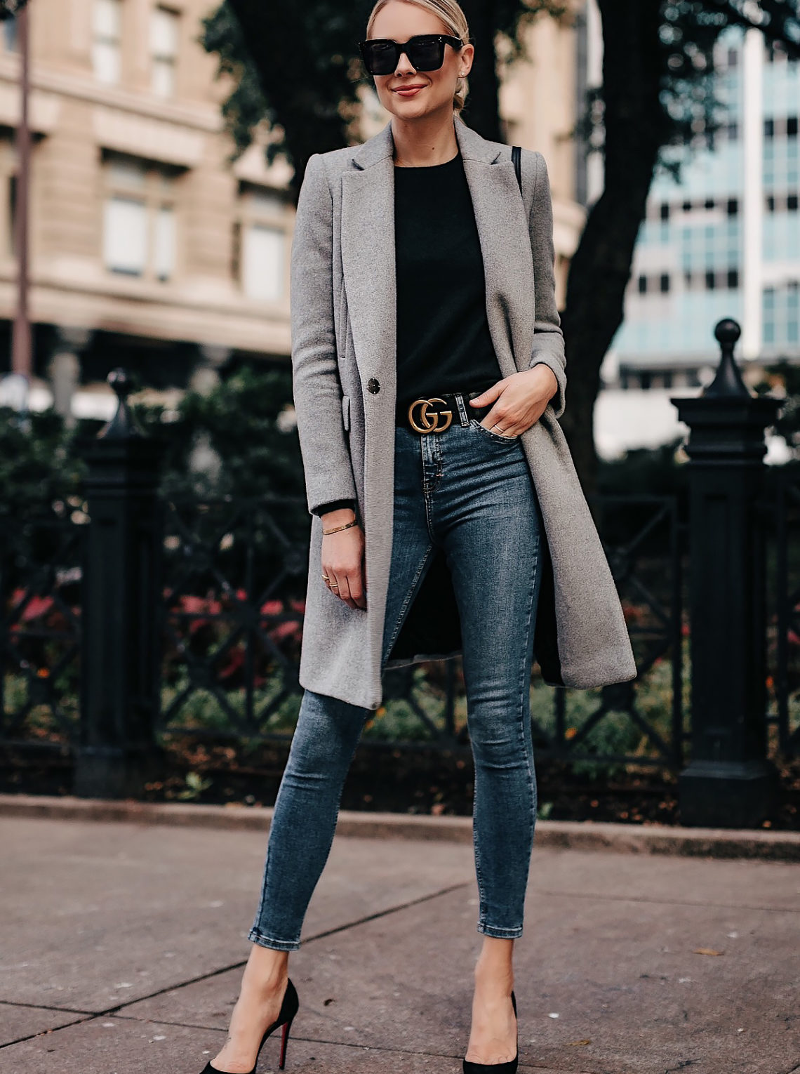 Blonde Woman Wearing Zara Grey Wool Coat Black Sweater Denim Skinny Jeans Gucci Belt Black Pumps Fashion Jackson San Diego Fashion Blogger Street Style