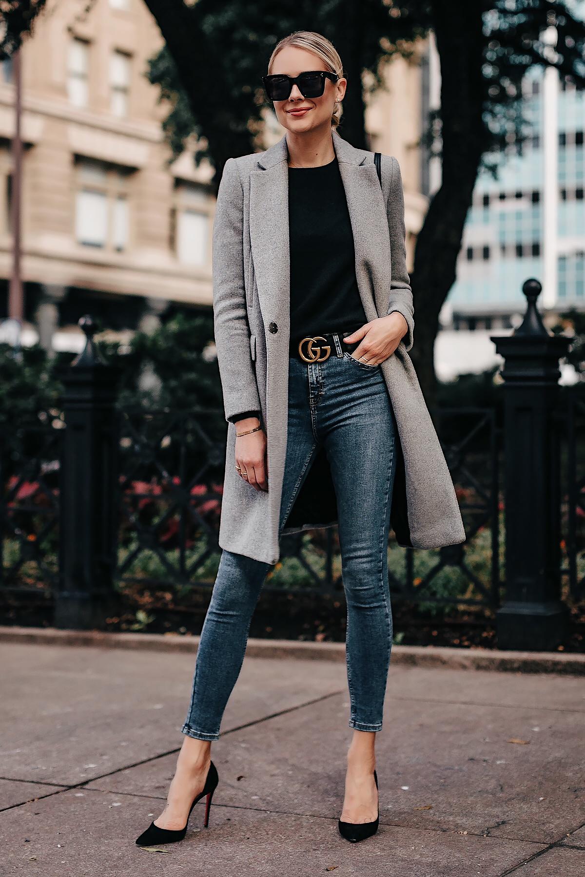 Blonde Woman Wearing Zara Grey Wool Coat Black Sweater Denim Skinny Jeans Gucci Belt Black Pumps Fashion Jackson San Diego Fashion Blogger Street Style