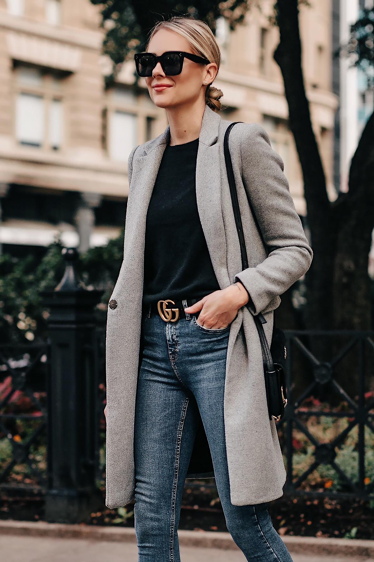 Blonde Woman Wearing Zara Grey Wool Coat Black Sweater Denim Skinny Jeans Gucci Belt Fashion Jackson San Diego Fashion Blogger Street Style