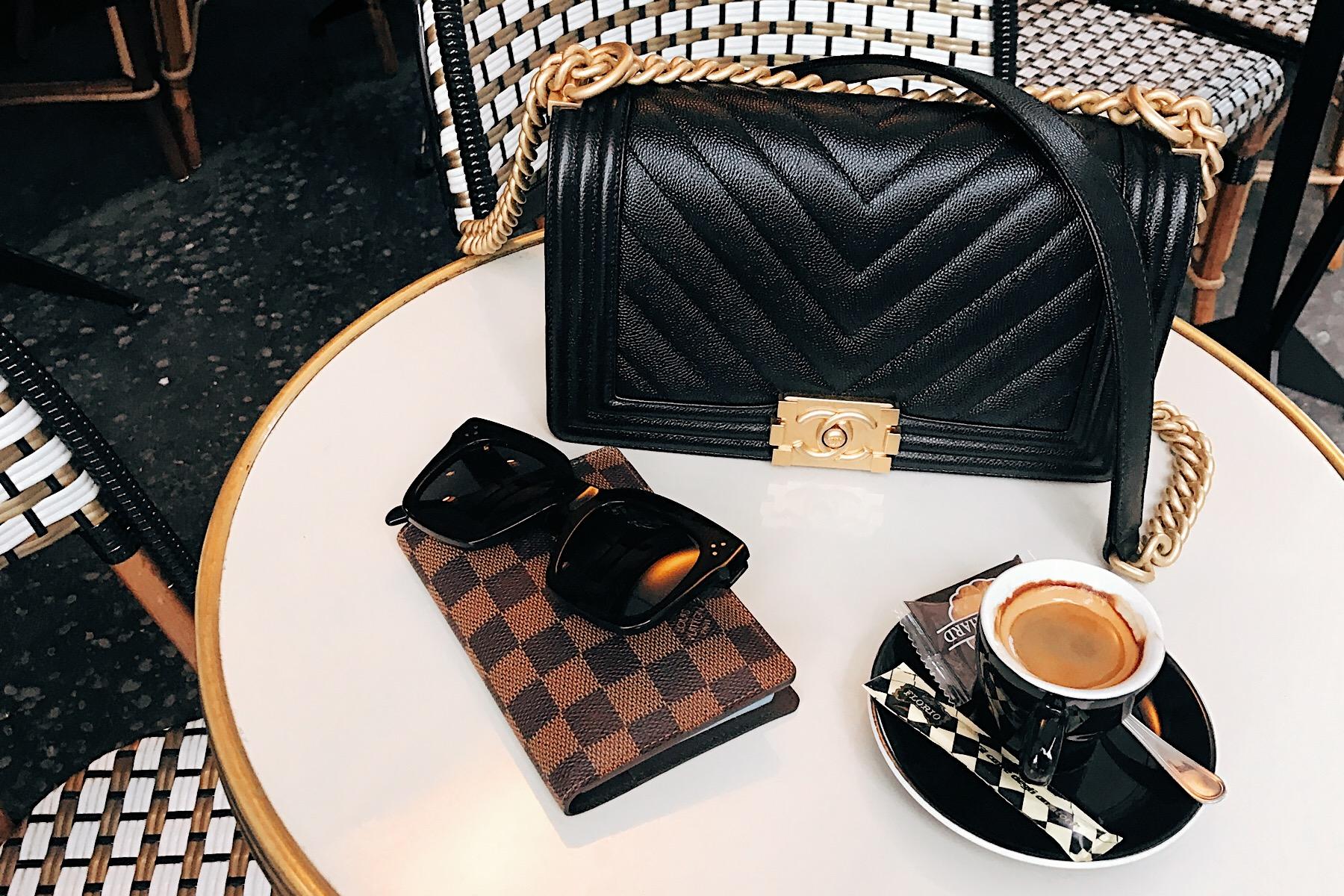 Chanel Black Boy Bag Paris Cafe