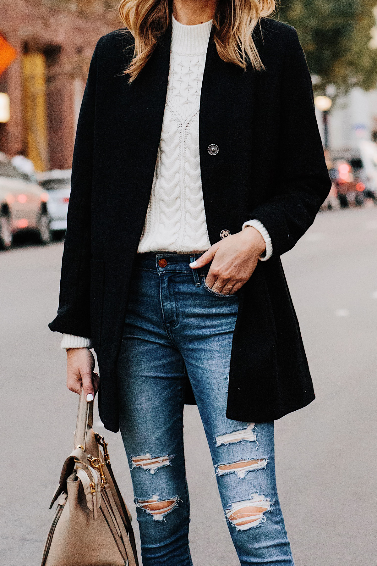 Blonde Woman Wearing Abercrombie Black Wool Coat Cable Knit White Sweater Denim Ripped Skinny Jeans Outfit Fashion Jackson San Diego Fashion Blogger Street Style
