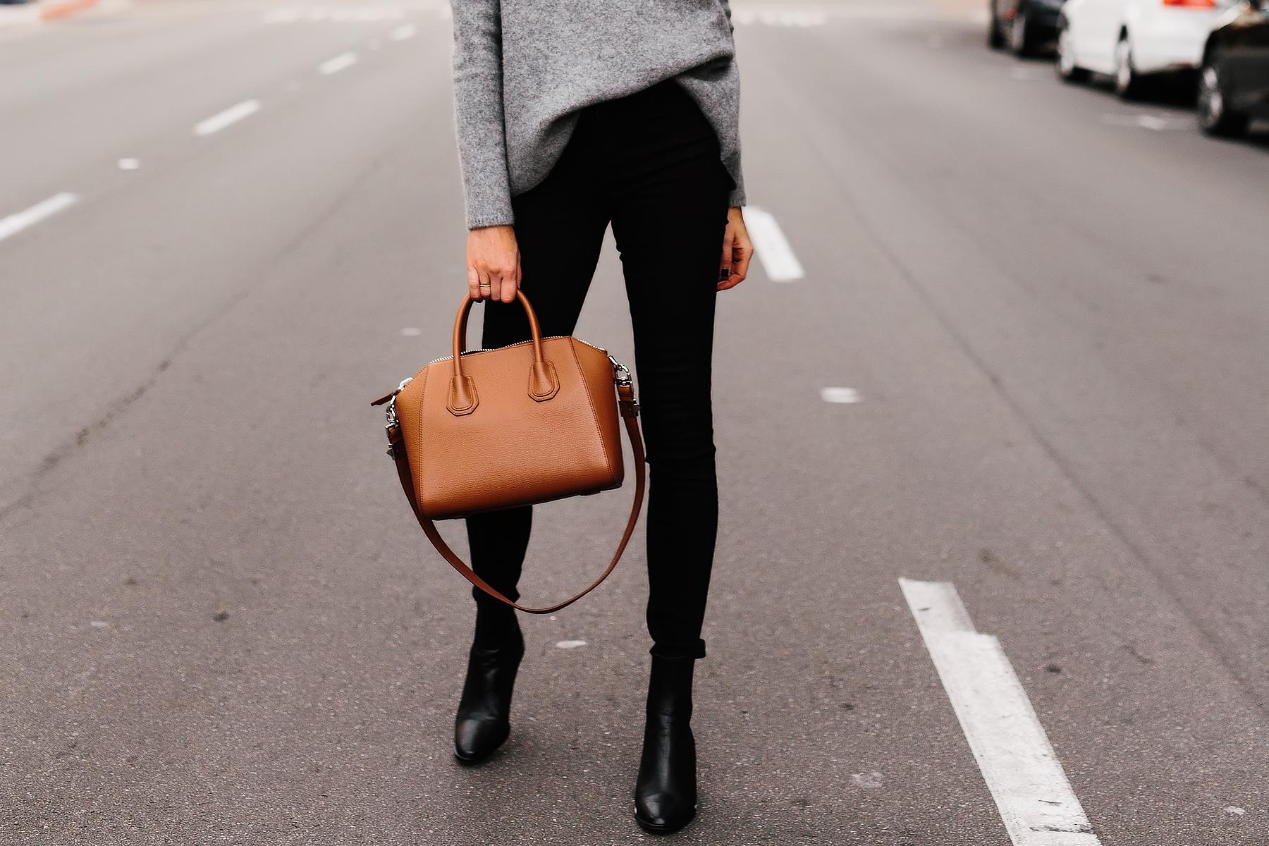 Fashion Jackson Black Skinnt Jeans Grey Sweater Black Booties Tan Satchel Handbag