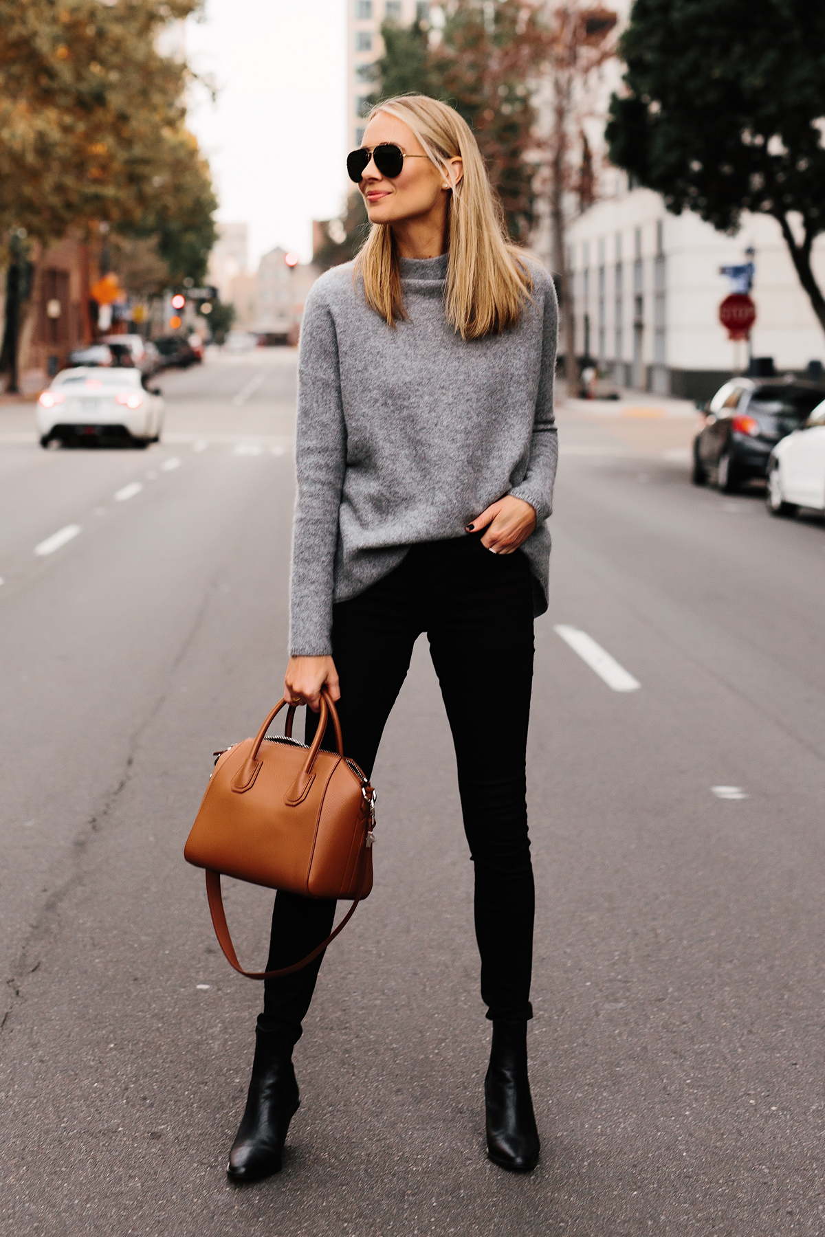 Fashion Jackson Bloomingdales Grey Cashmere Mock Neck Sweater Black Skinny Jeans Black Booties Outfit Tan Satchel Handbag Aviator Sunglasses