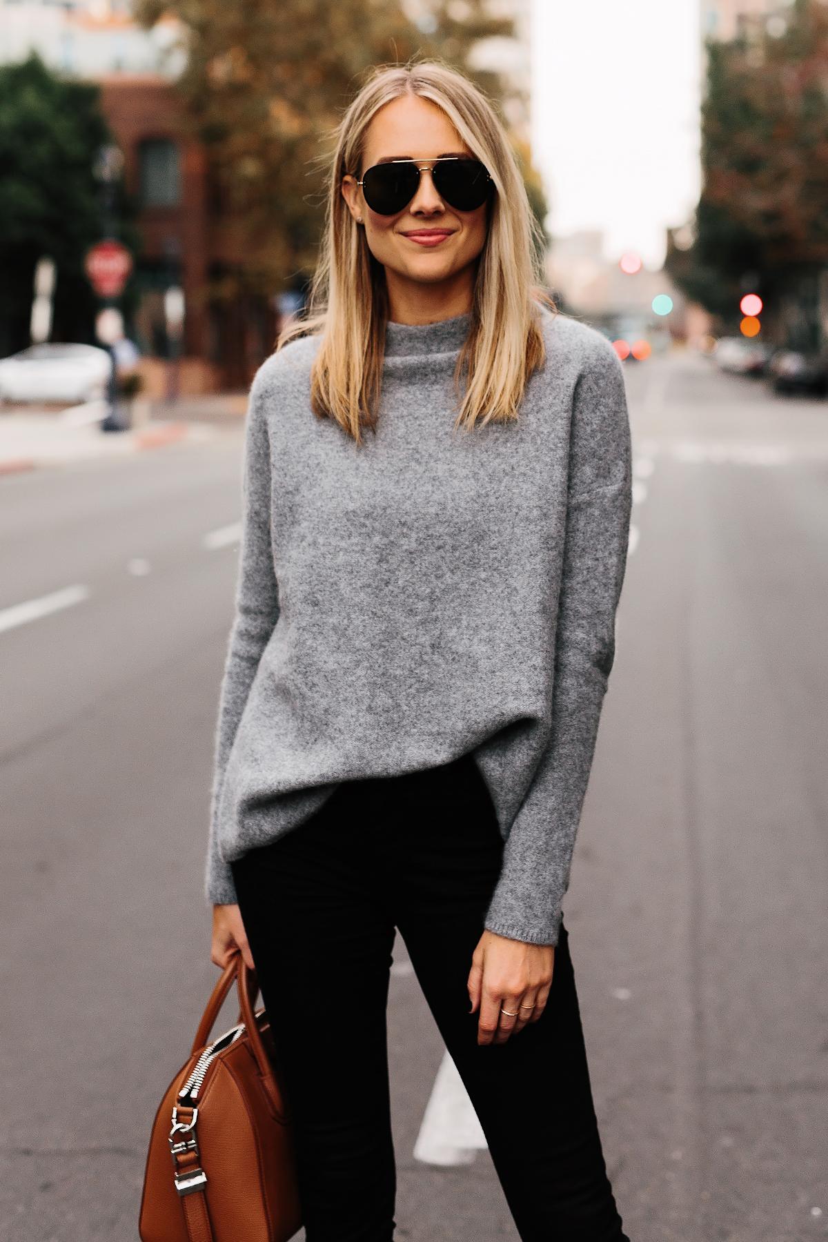 Fashion Jackson Bloomingdales Grey Cashmere Mock Neck Sweater Black Skinny Jeans Tan Handbag Aviator Sunglasses