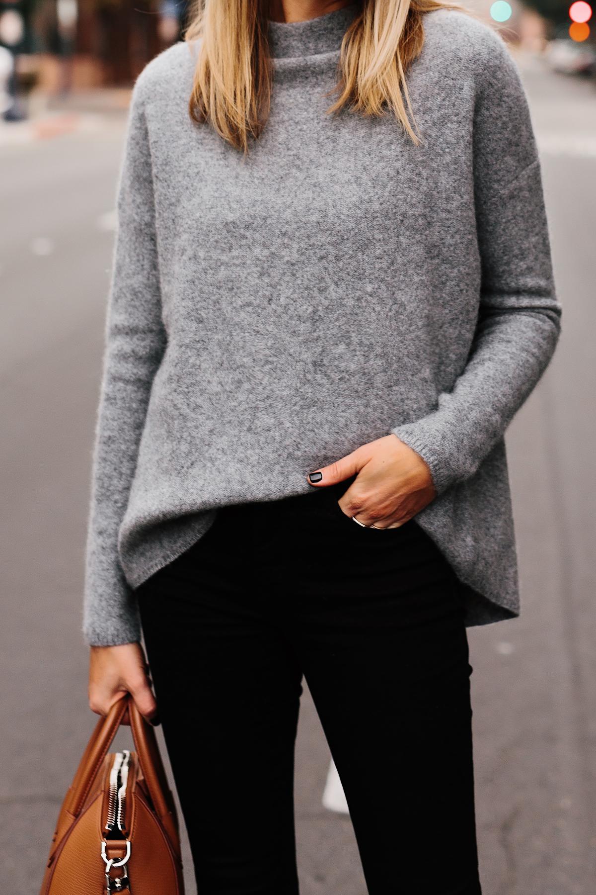 Fashion Jackson Bloomingdales Grey Cashmere Mock Neck Sweater Black Skinny Jeans Tan Handbag