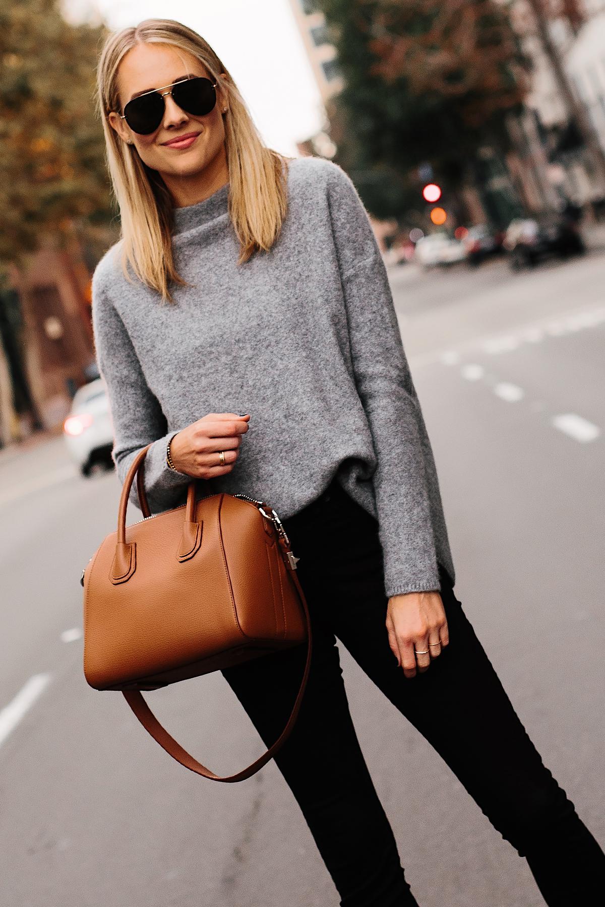 Fashion Jackson Bloomingdales Grey Cashmere Mock Neck Sweater Black Skinny Jeans Tan Satchel Handbag Aviator Sunglasses