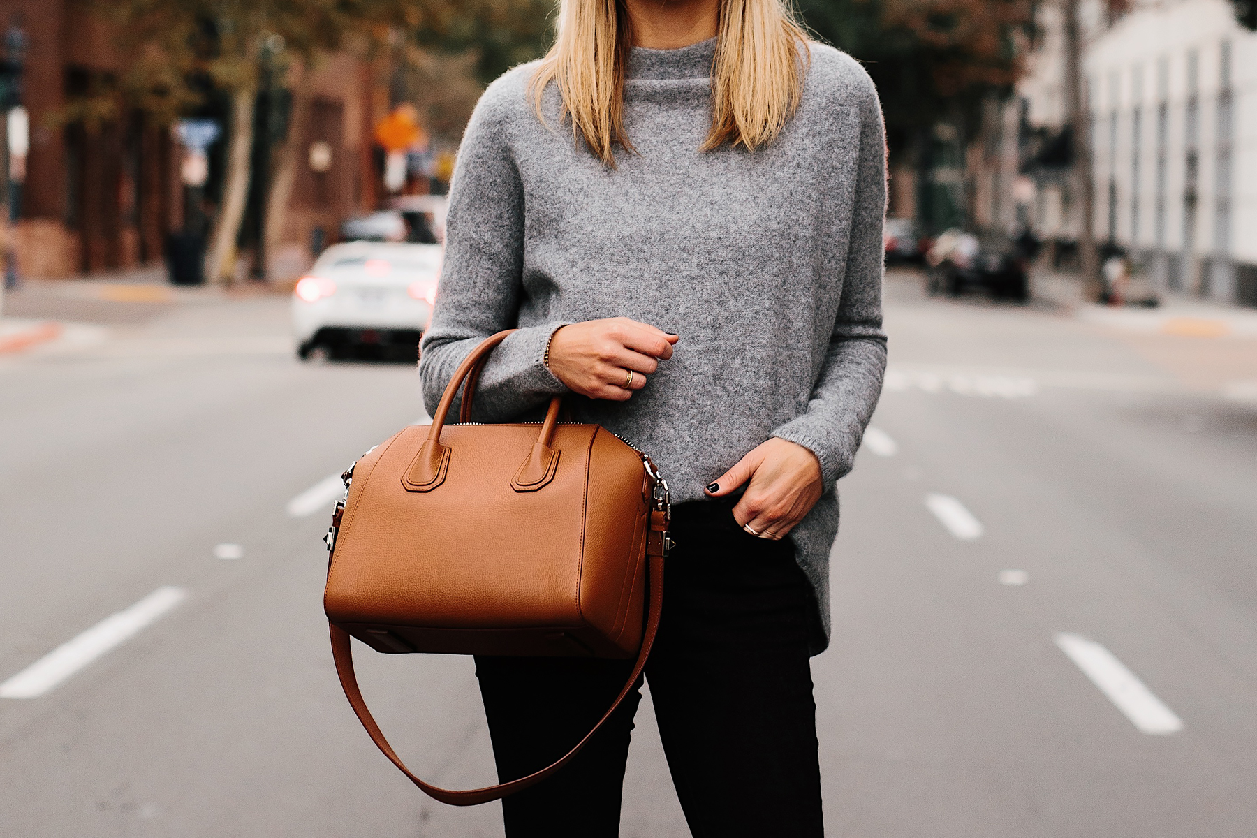 Fashion Jackson Bloomingdales Grey Cashmere Mock Neck Sweater Black Skinny Jeans Tan Satchel Handbag