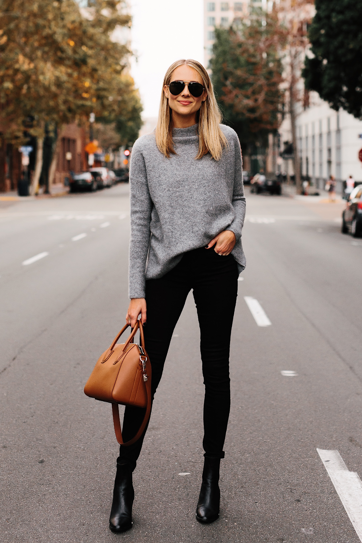 Fashion Jackson Bloomingdales Grey Cashmere Sweater Black Skinny Jeans Black Booties Outfit Tan Satchel Handbag Aviator Sunglasses