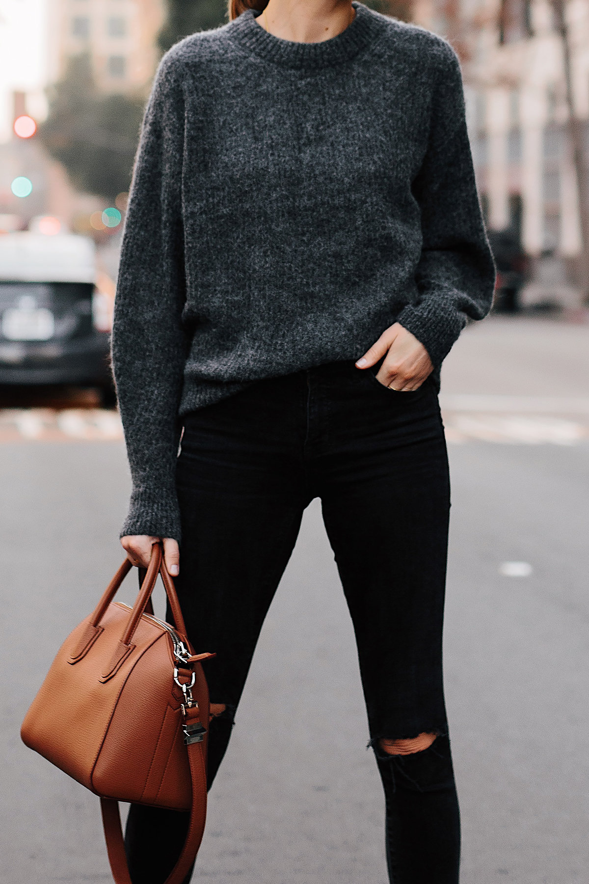Woman Wearing Everlane Alpaca Dark Grey Sweater Black Ripped Skinny Jeans Tan Satchel Handbag Fashion Jackson San Diego Fashion Blogger Street Style
