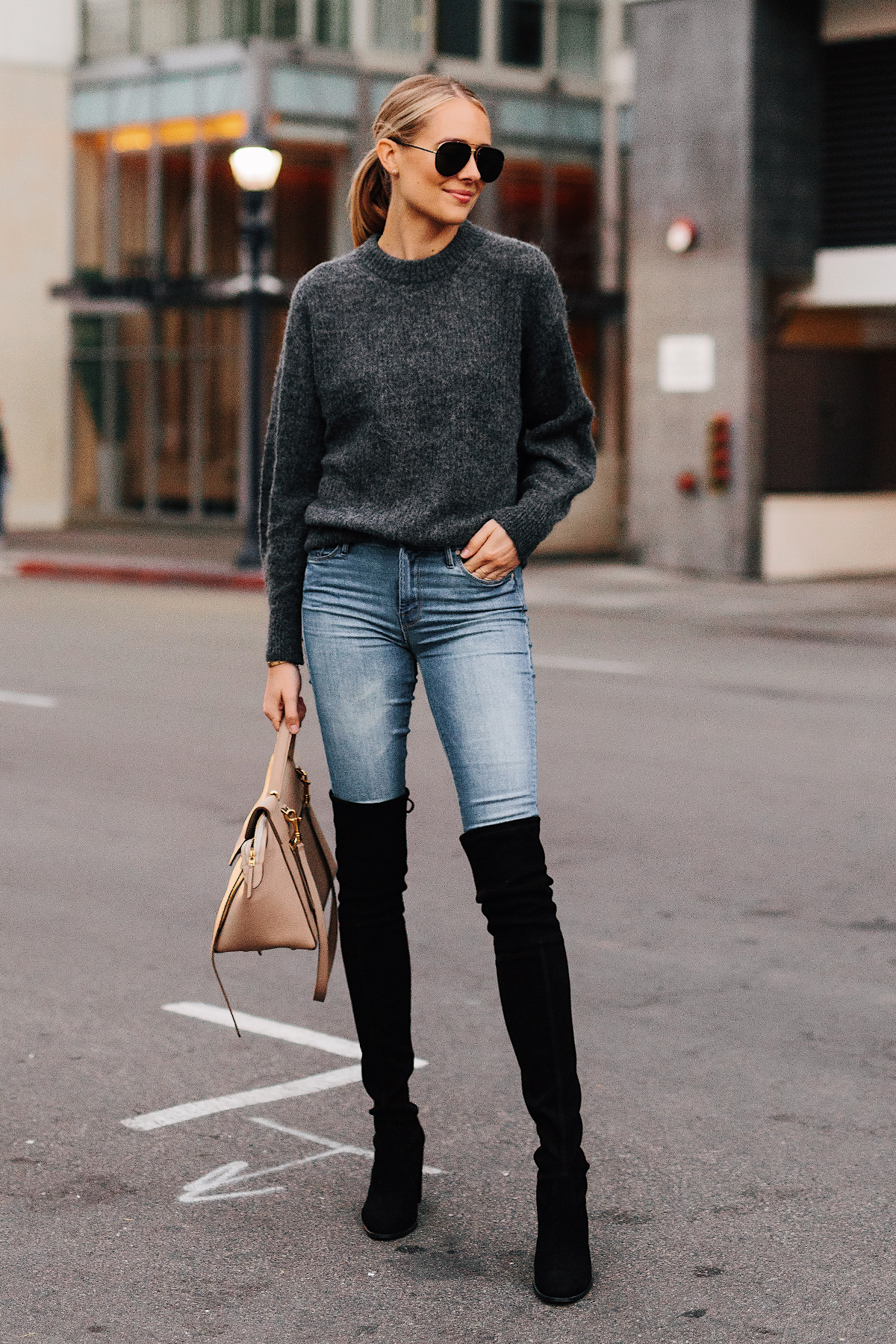 Blonde Woman Wearing Everlane Alpaca Dark Grey Sweater Denim Skinny Jeans Stuart Weitzman Black Over the Knee Boots Celine Mini Belt Bag Taupe Fashion Jackson San Diego Fashion Blogger Street Style
