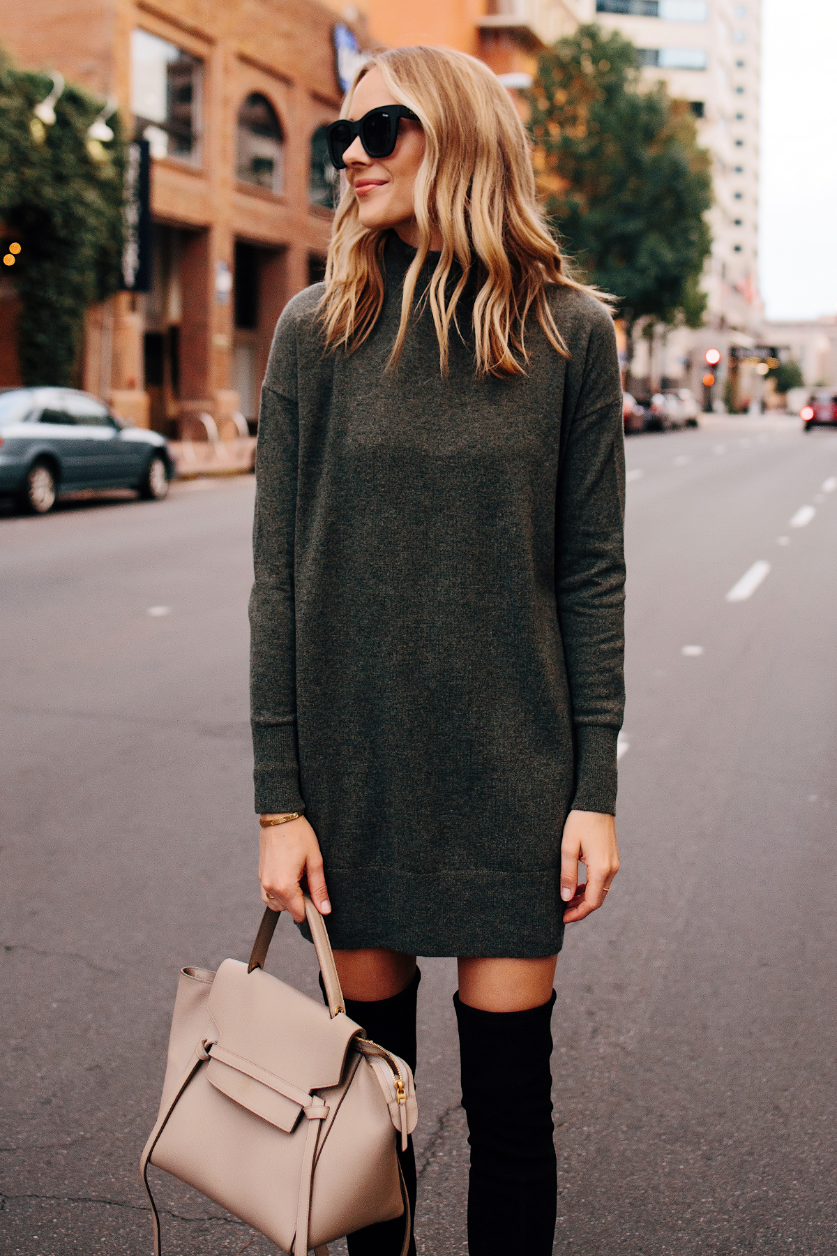 Blonde Woman Wearing Everlane Cashmere Sweater Dress Celine Mini Belt Bag Black OTK Boots Outfit Fashion Jackson San Diego Fashion Blogger Street Style