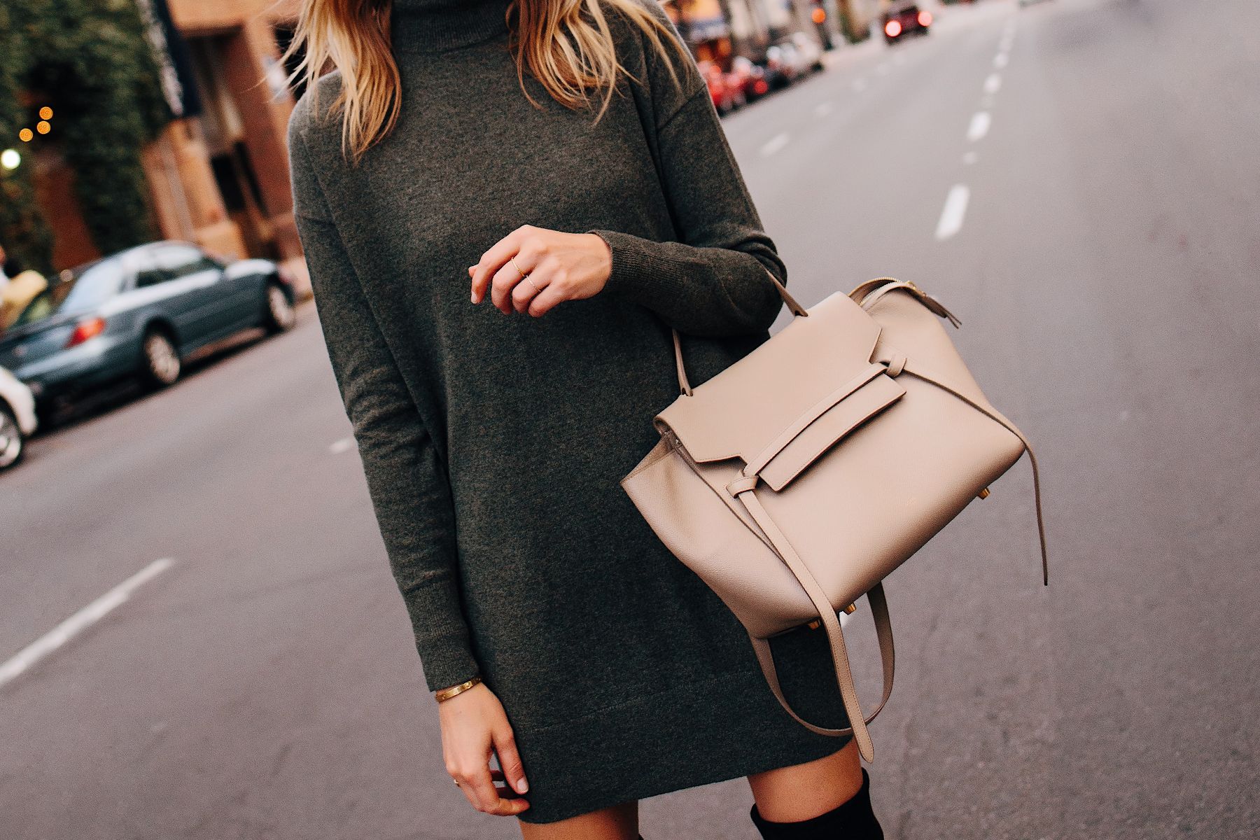 Woman Wearing Everlane Cashmere Sweater Dress Celine Mini Belt Bag Taupe Fashion Jackson San Diego Fashion Blogger Street Style