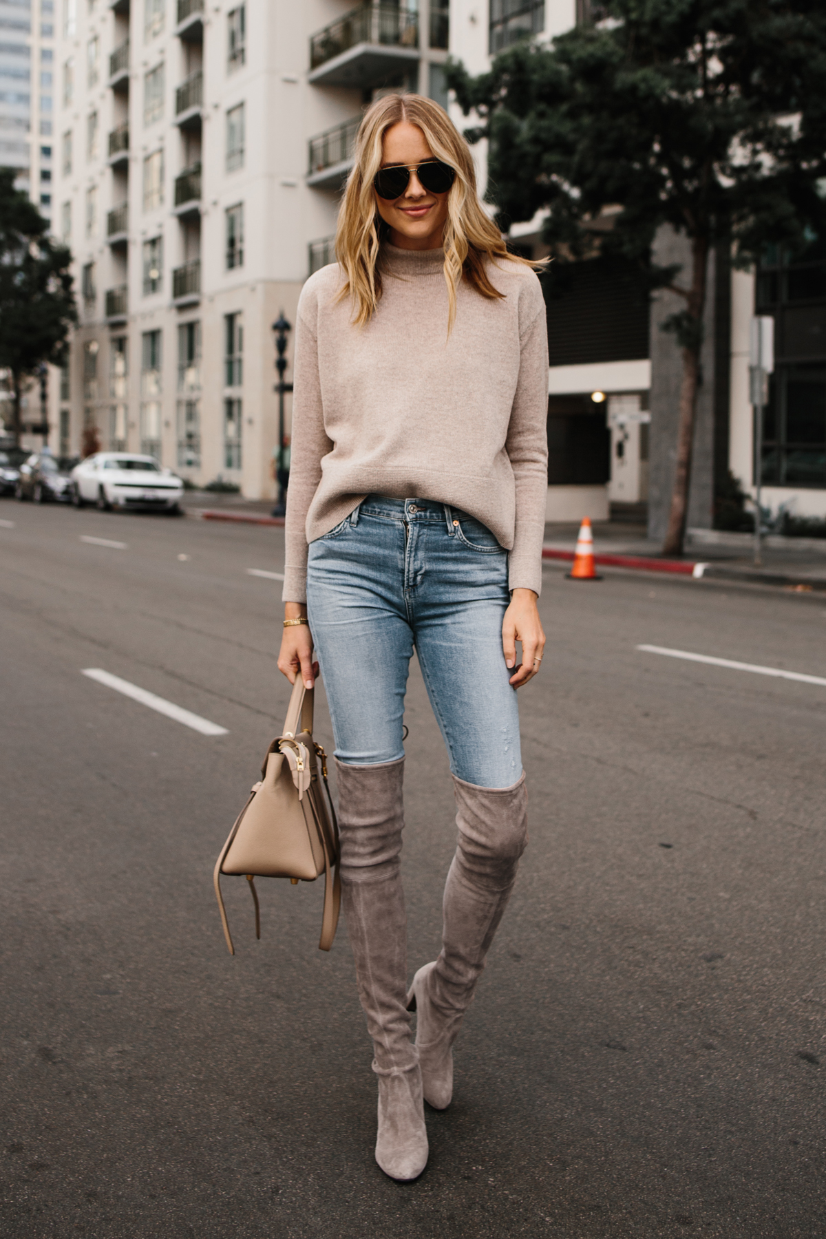Fashion Jackson Everlane Oatmeal Sweater Denim Skinny Jeans Stuart Weitzman OTK Taupe Boots Celine Mini Belt Bag Fashion Jackson San Diego Fashion Blogger Street Style