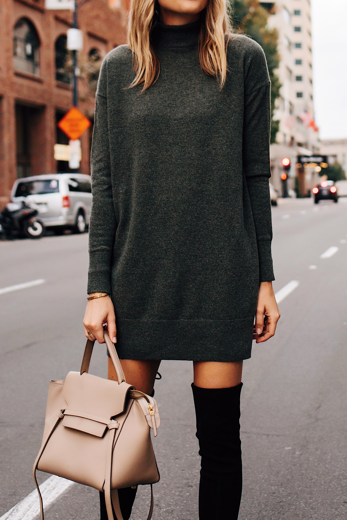 Blonde Woman Wearing Everlane Sweater Dress Celine Mini Belt Bag Taupe Black OTK Boots Fashion Jackson San Diego Fashion Blogger Street Style