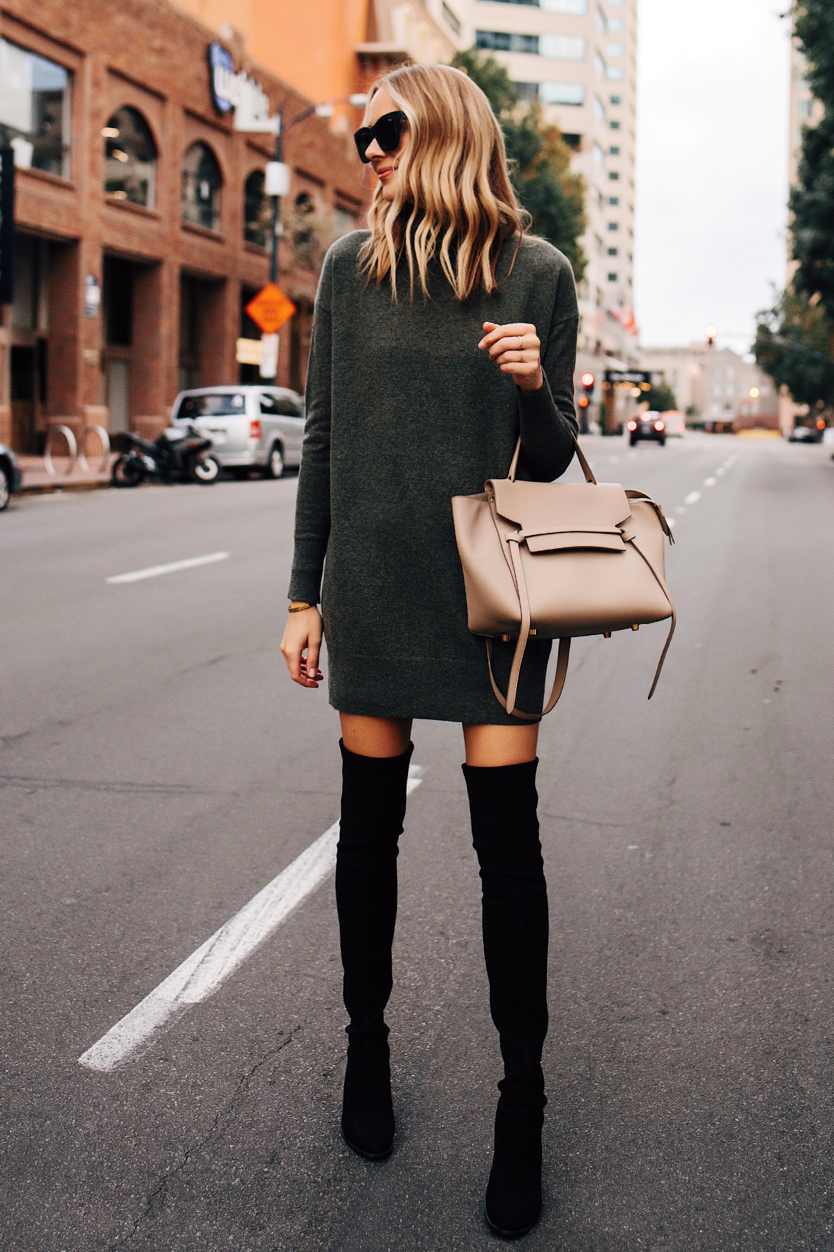 Blonde Woman Wearing Everlane Sweater Dress Stuart Weitzman Black OTK Boots Celine Mini Belt Bag Taupe Fashion Jackson San Diego Fashion Blogger Street Style